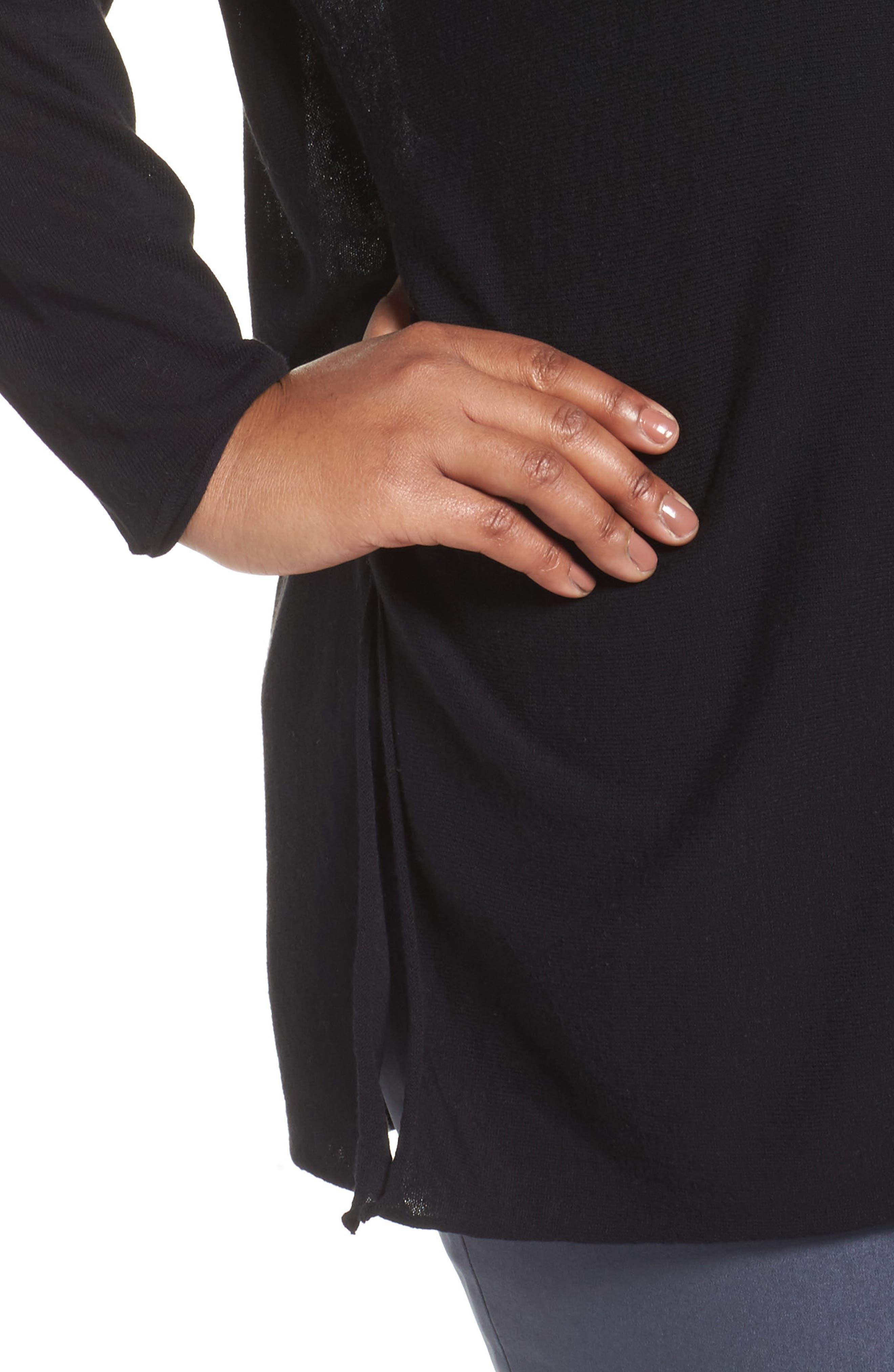 NIC + ZOE Dolman Sleeve Side Tie Top,                             Alternate thumbnail 4, color,                             Black Onyx