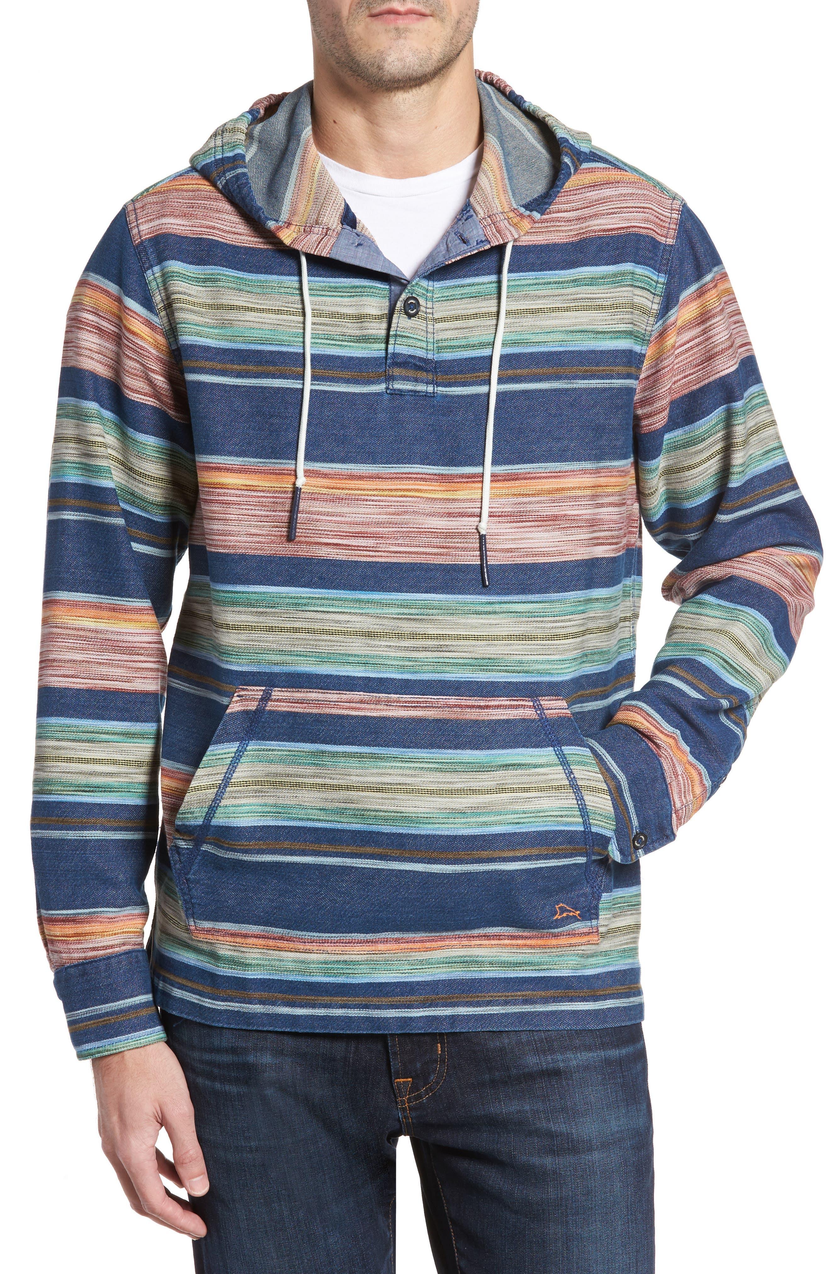 Bahia Baja Stripe Hoodie,                             Main thumbnail 1, color,                             Bering Blue