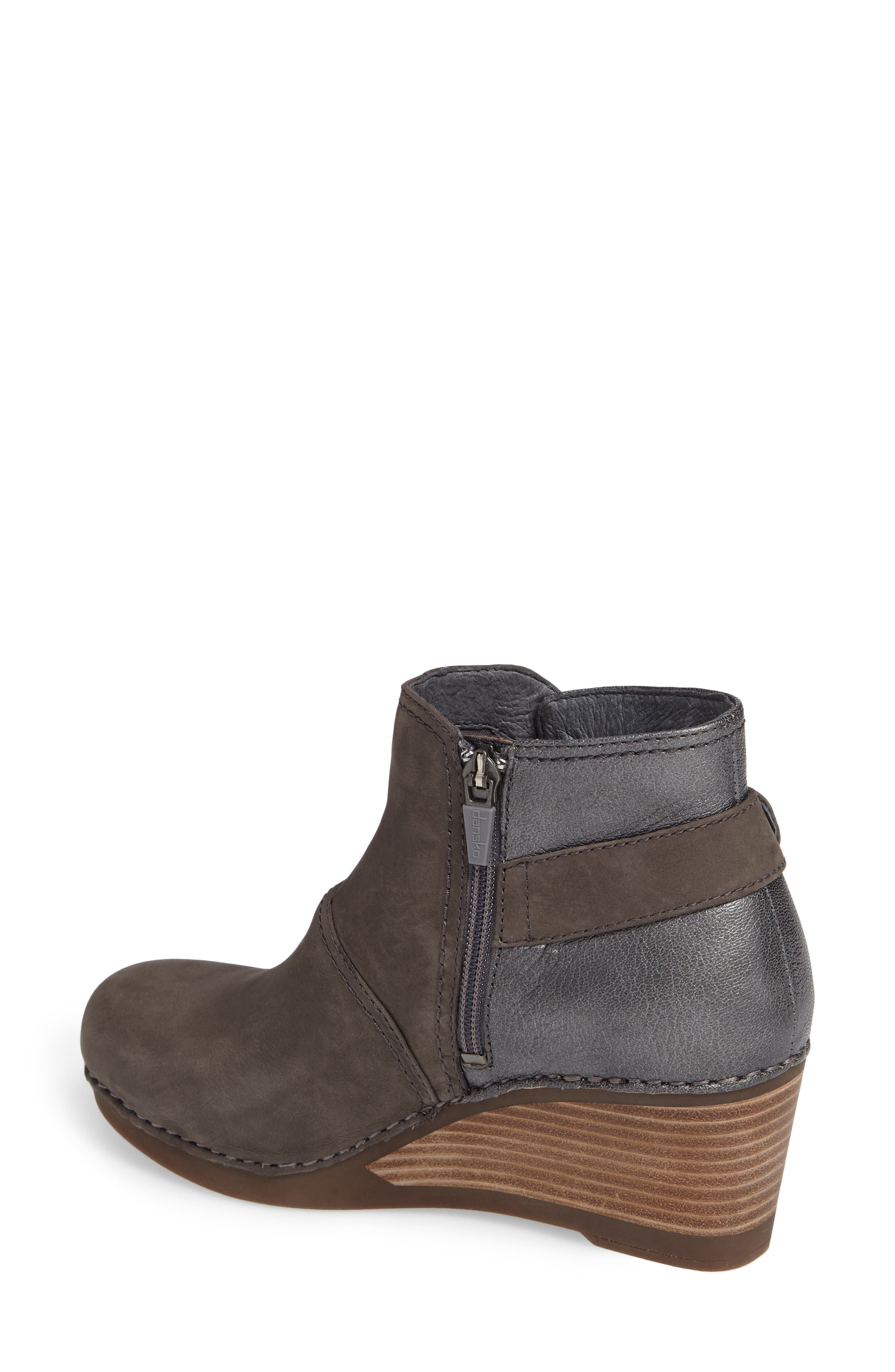'Shirley' Wedge Bootie,                             Alternate thumbnail 2, color,                             Grey Nubuck Leather