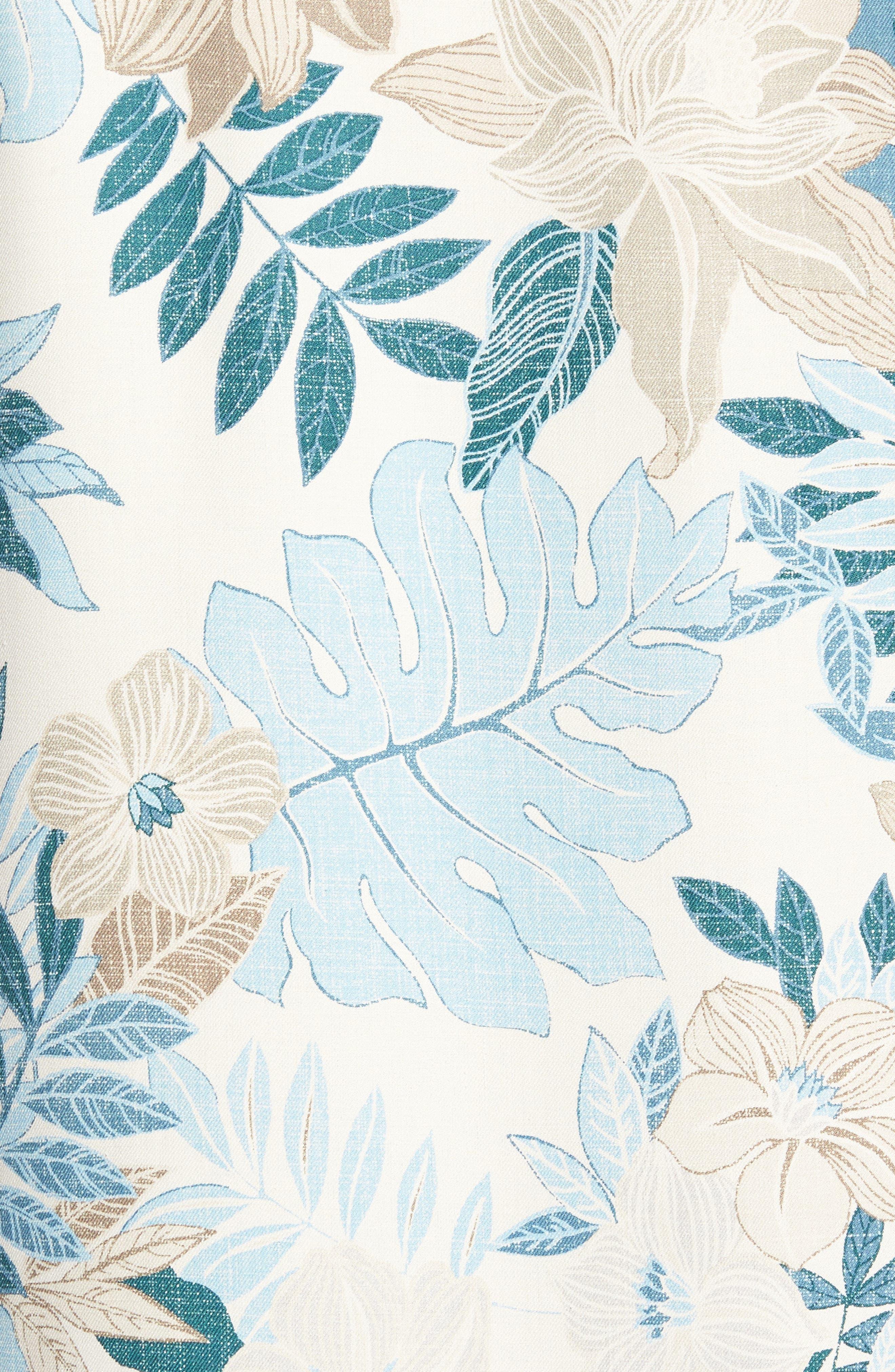 Desert Blooms Standard Fit Silk Camp Shirt,                             Alternate thumbnail 5, color,                             Coconut Cream