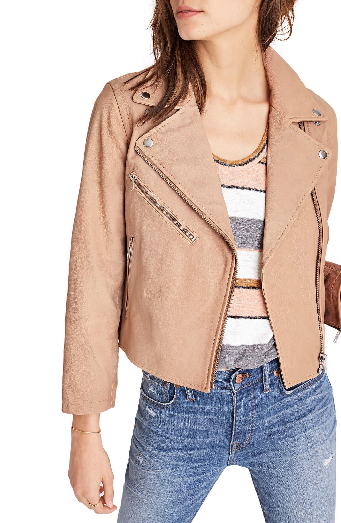 Crop Leather Moto Jacket,                         Main,                         color, Pale Cement