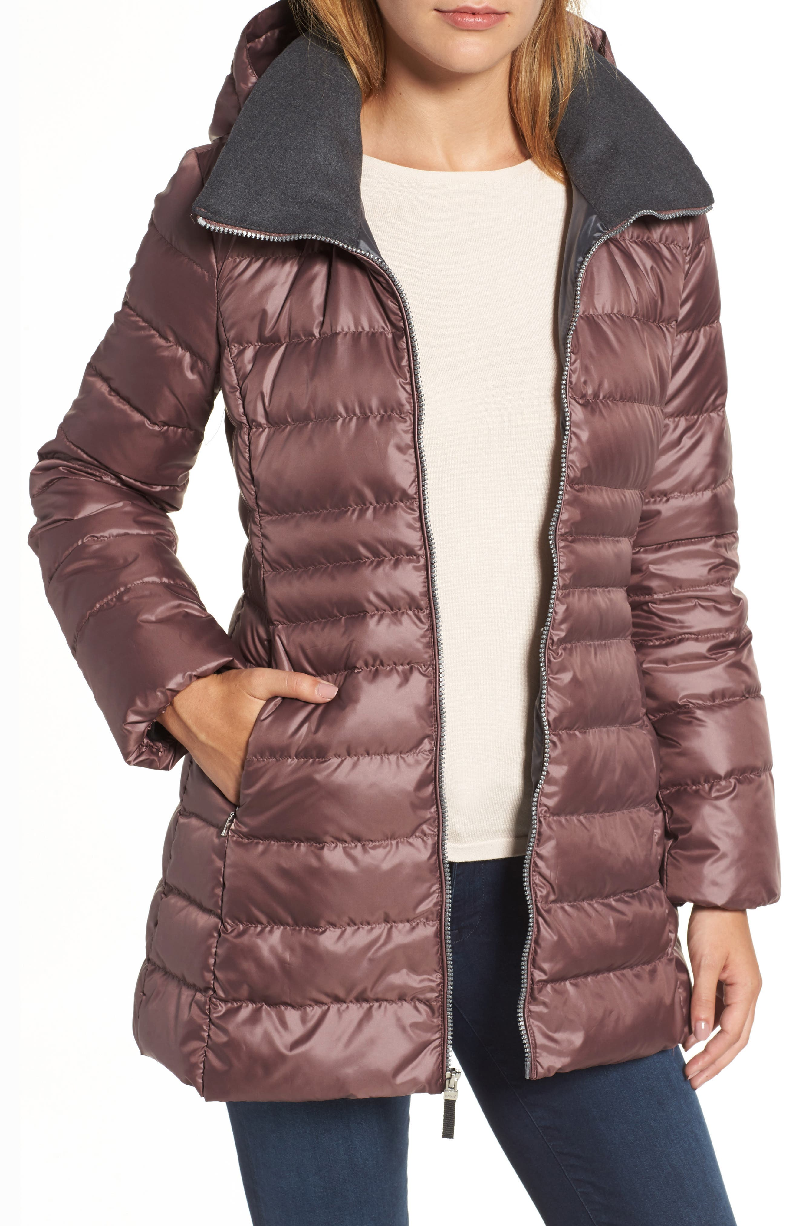 Erin Hooded Down Coat,                         Main,                         color, Dusty Rose