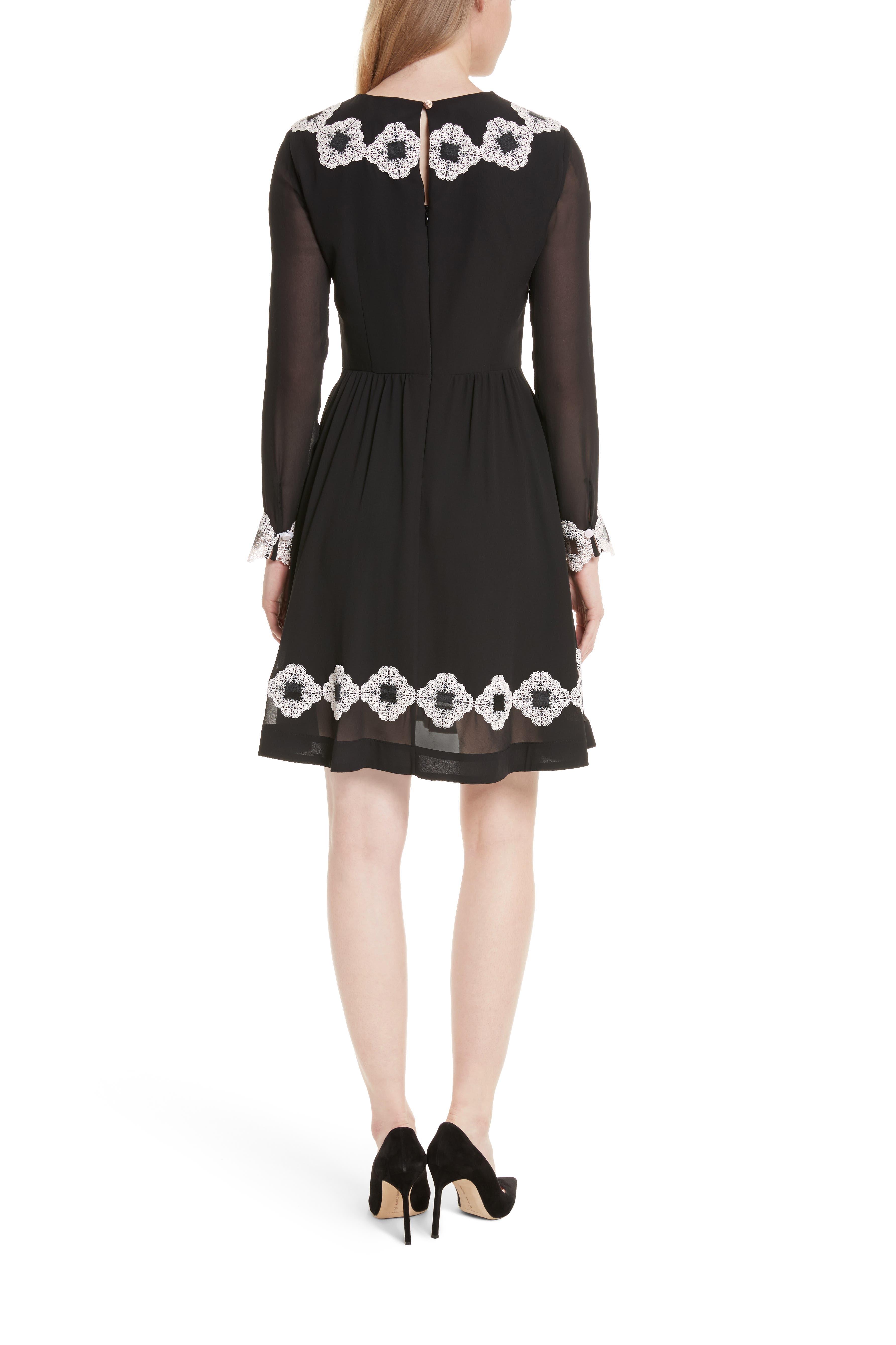 Avianah Lace Trim Fit & Flare Dress,                             Alternate thumbnail 2, color,                             Black