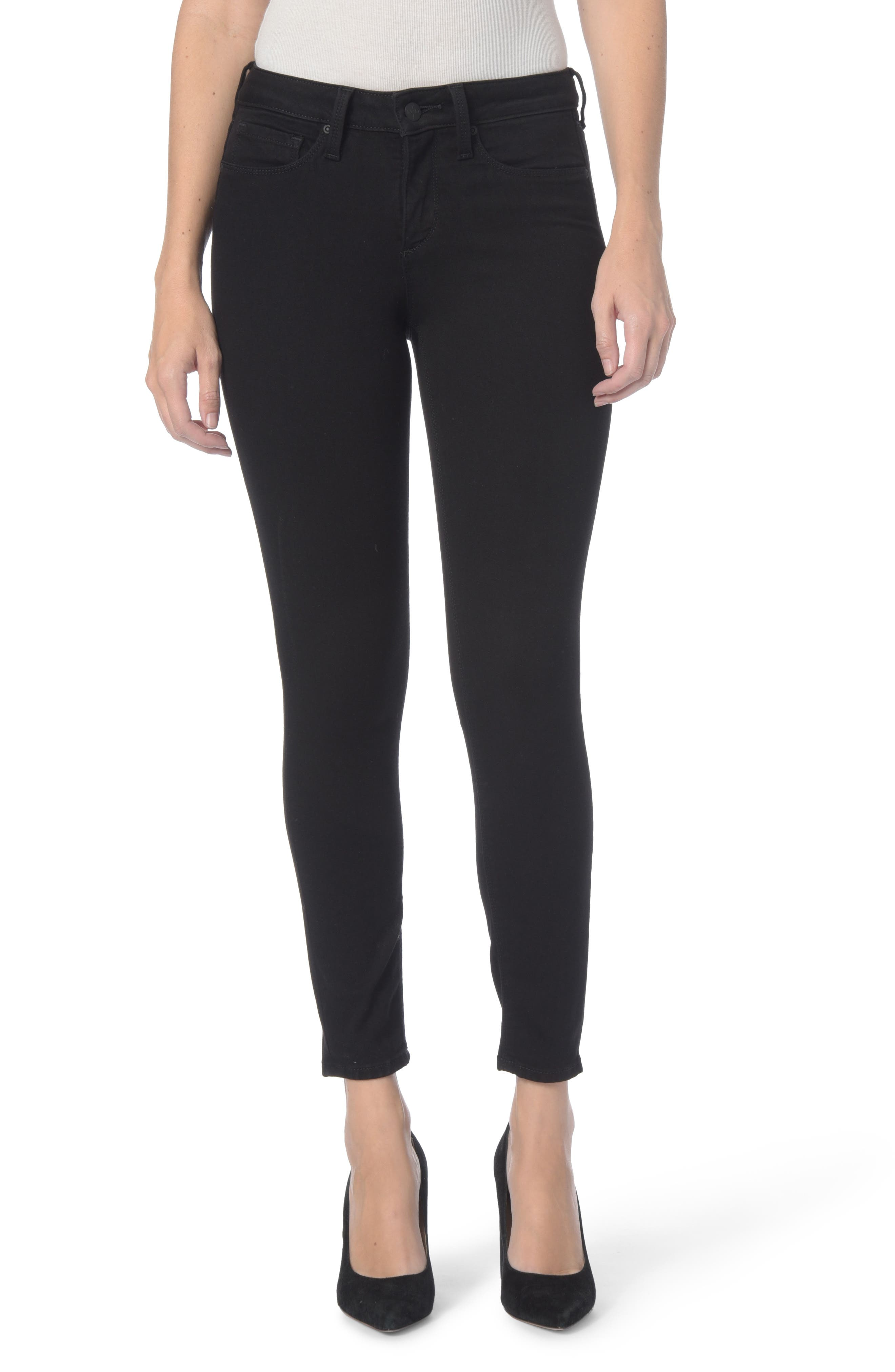 Dylan Stretch Skinny Ankle Jeans,                             Main thumbnail 1, color,                             Black
