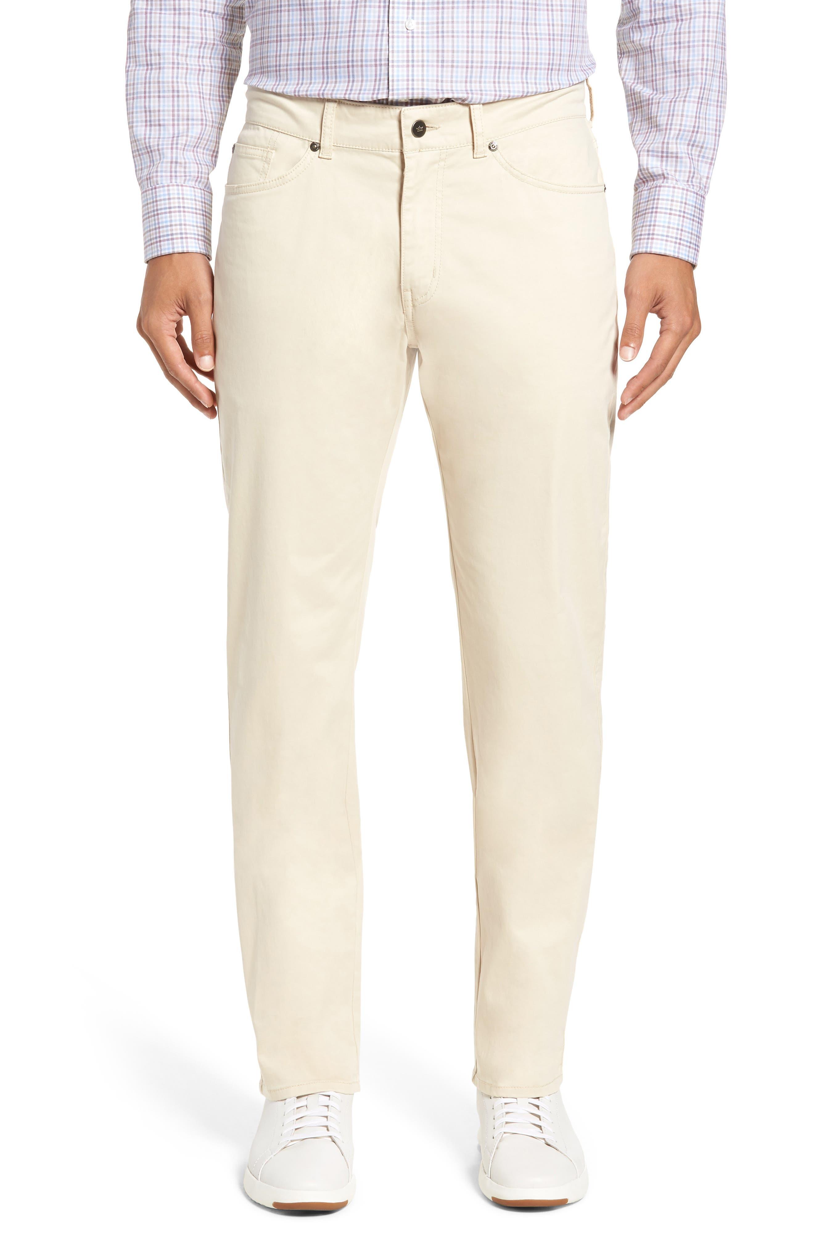 Stretch Sateen Five-Pocket Pants,                         Main,                         color, Light Sand