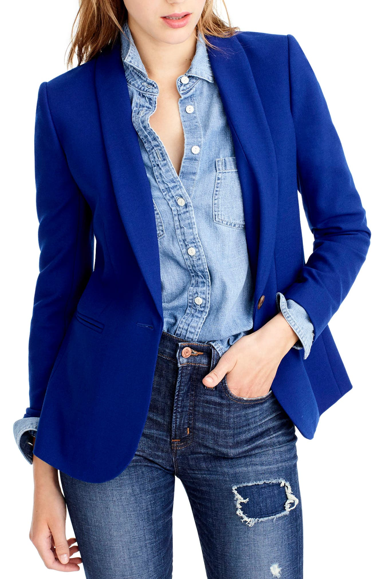 J.Crew Parke Blazer,                             Main thumbnail 1, color,                             Bright Indigo