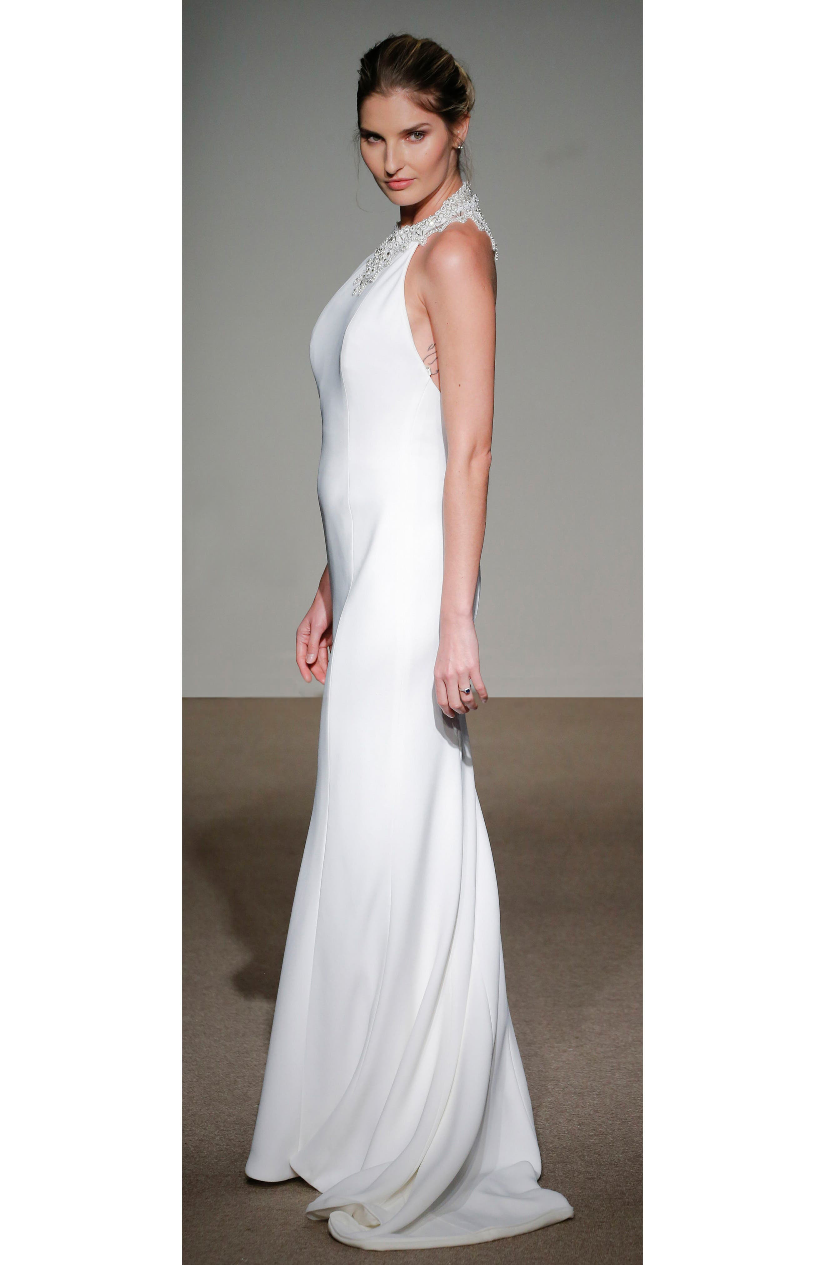 Senet Embellished Open Back Cady Gown,                             Alternate thumbnail 2, color,                             White