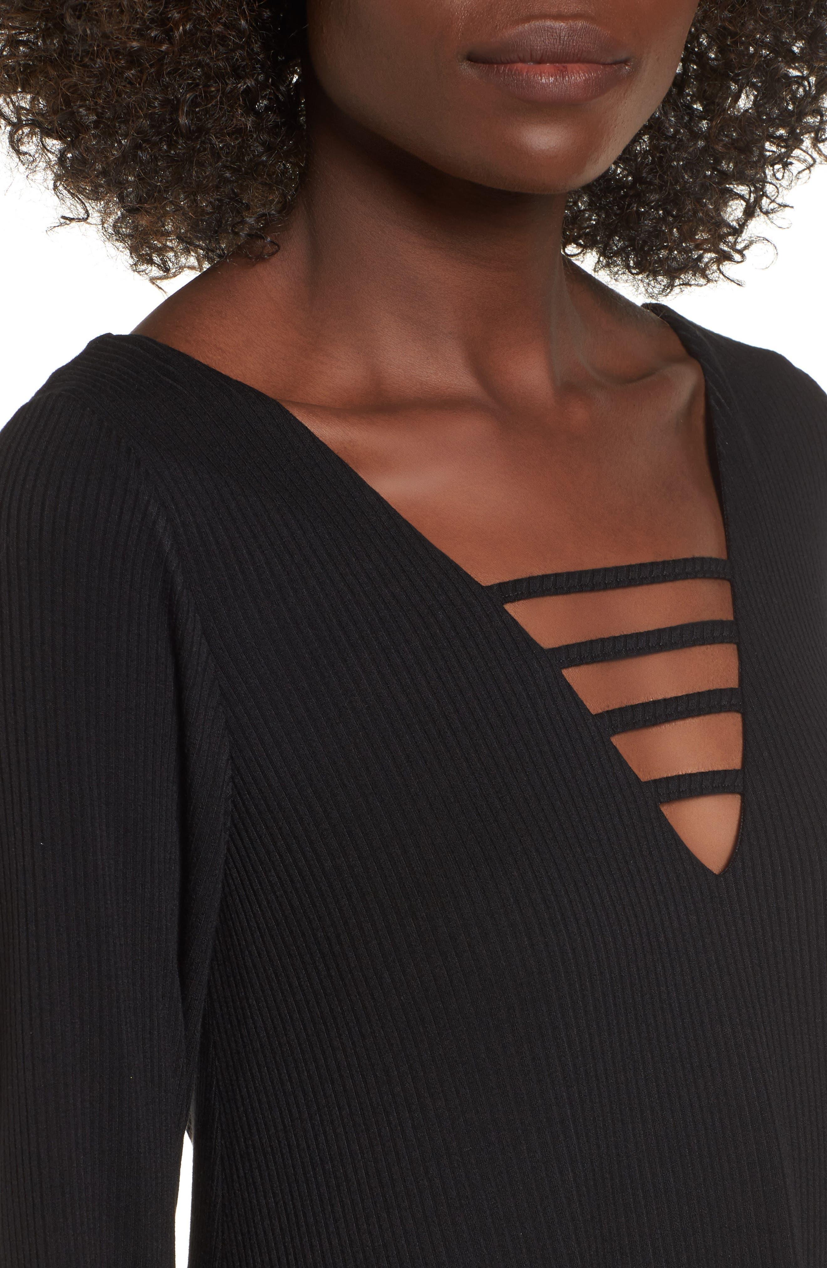 Strappy Swing Dress,                             Alternate thumbnail 4, color,                             Black
