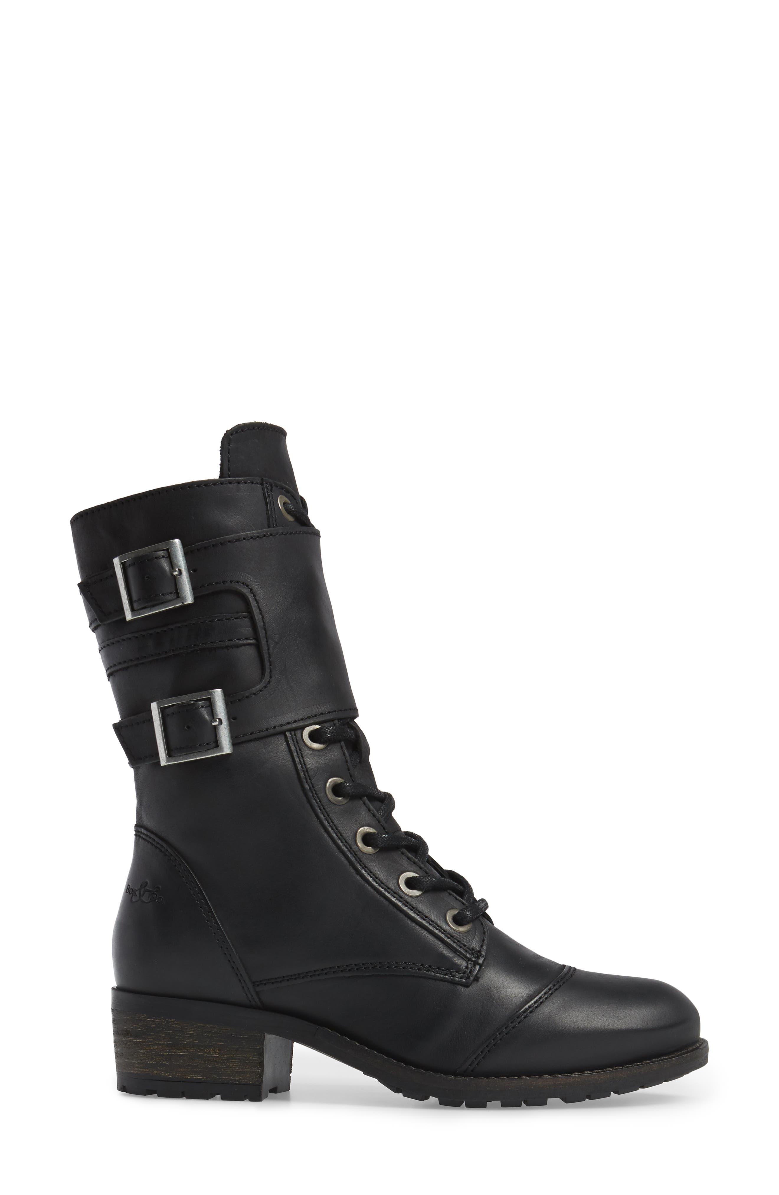 Lune Waterproof Moto Boot,                             Alternate thumbnail 3, color,                             Black Varese Leather