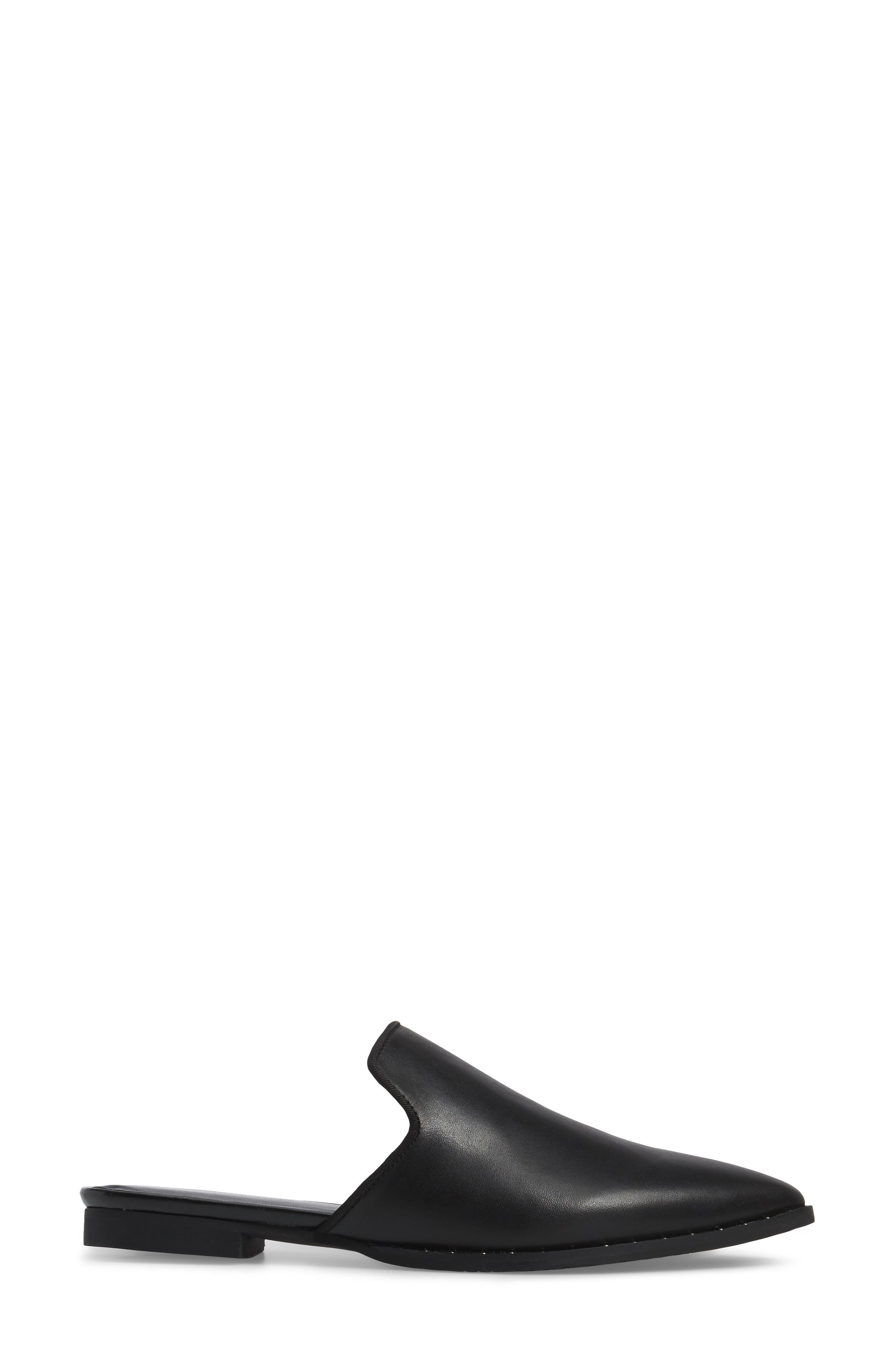 Keaton Loafer Mule,                             Alternate thumbnail 3, color,                             Black Leather
