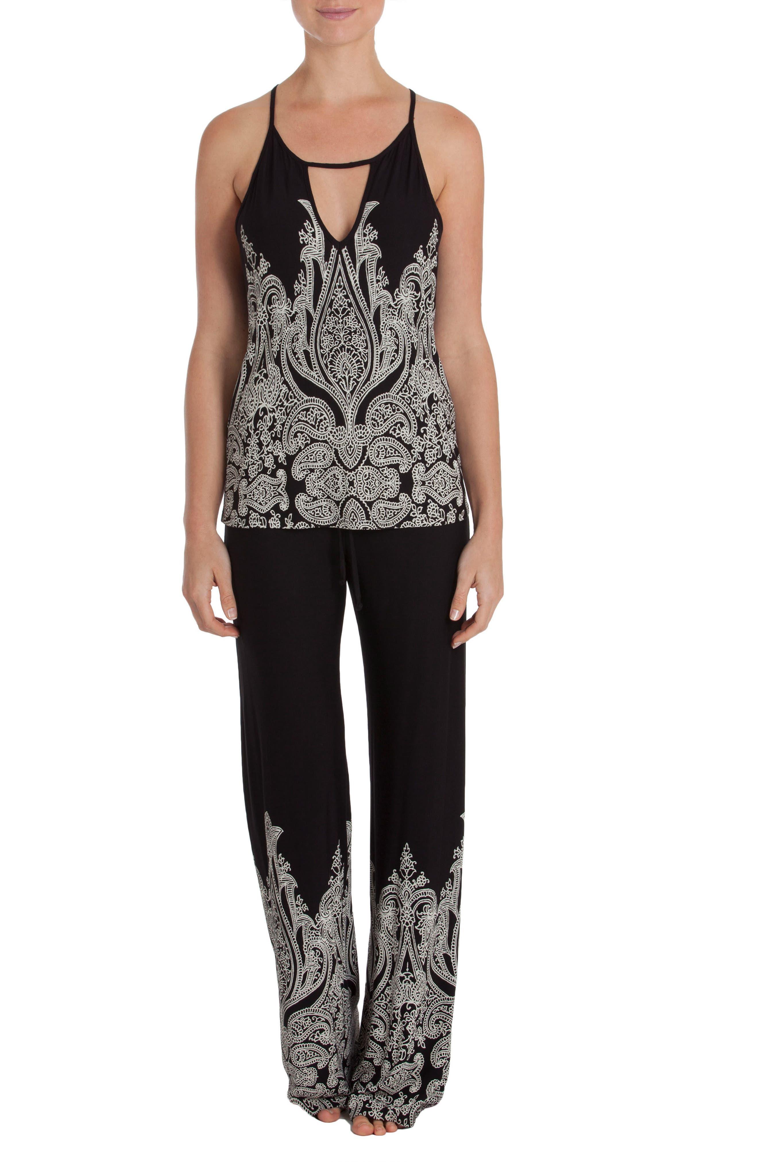 Camisole Pajamas,                         Main,                         color, Black/ Ivory Print