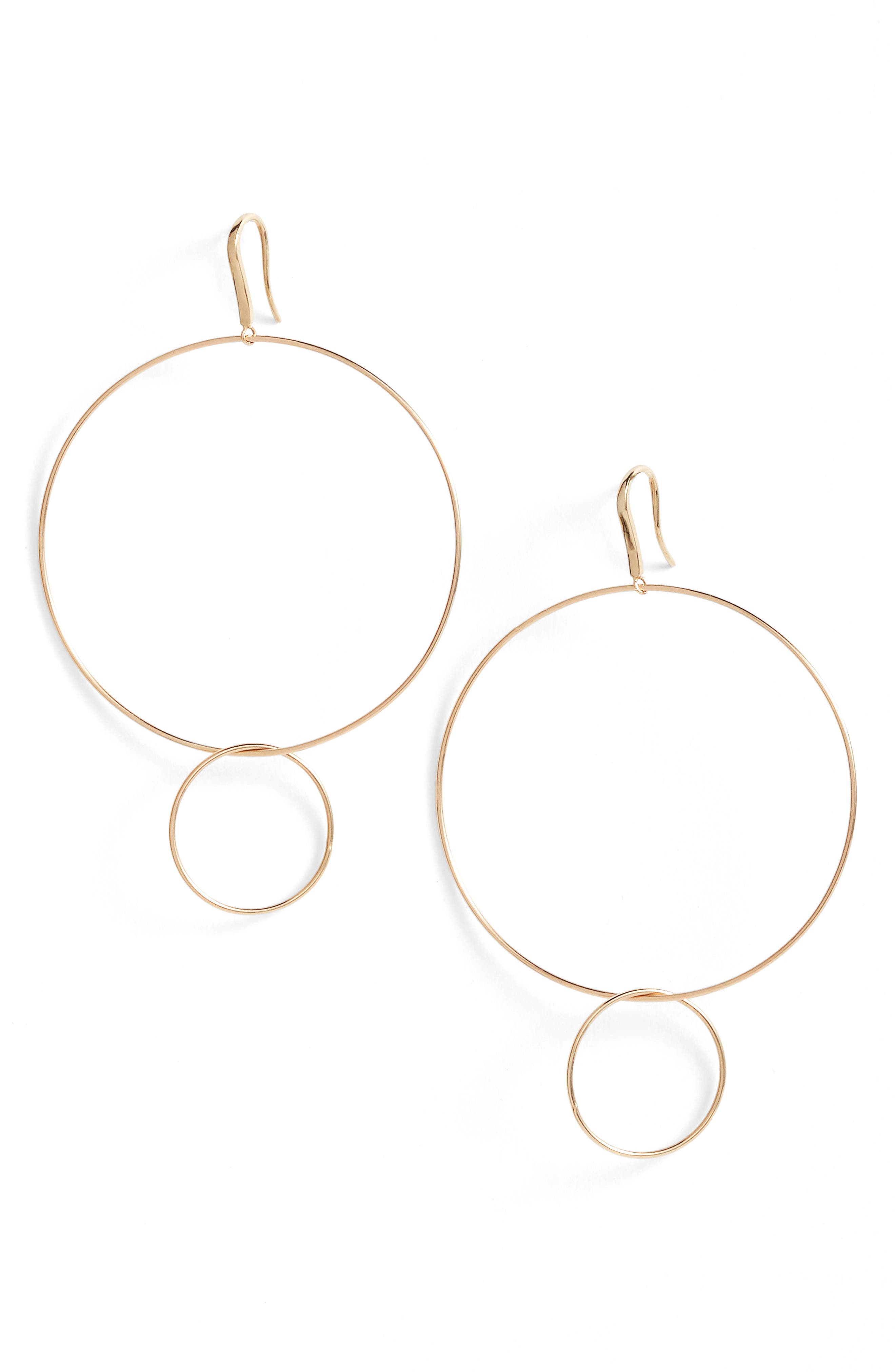 Frontal Hoop Earrings,                         Main,                         color, Yellow Gold