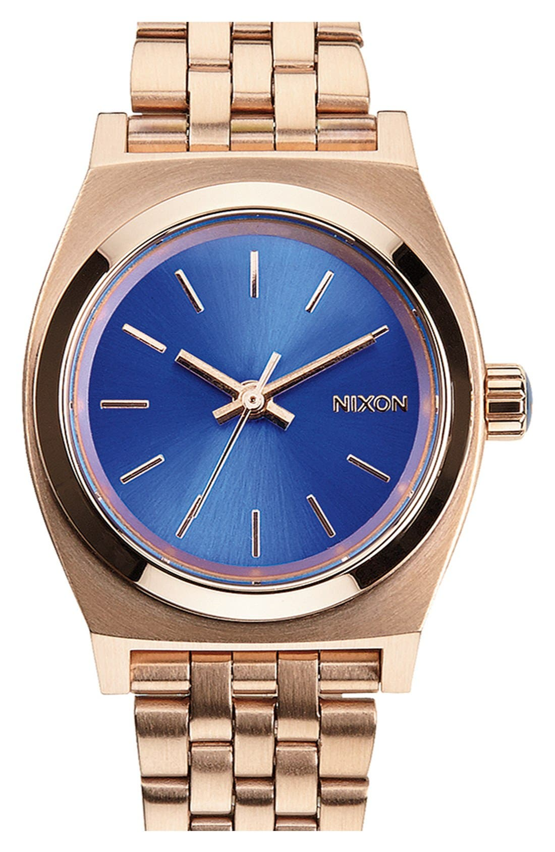 'The Small Time Teller' Bracelet Watch, 26mm,                         Main,                         color, Rose Gold/ Cobalt