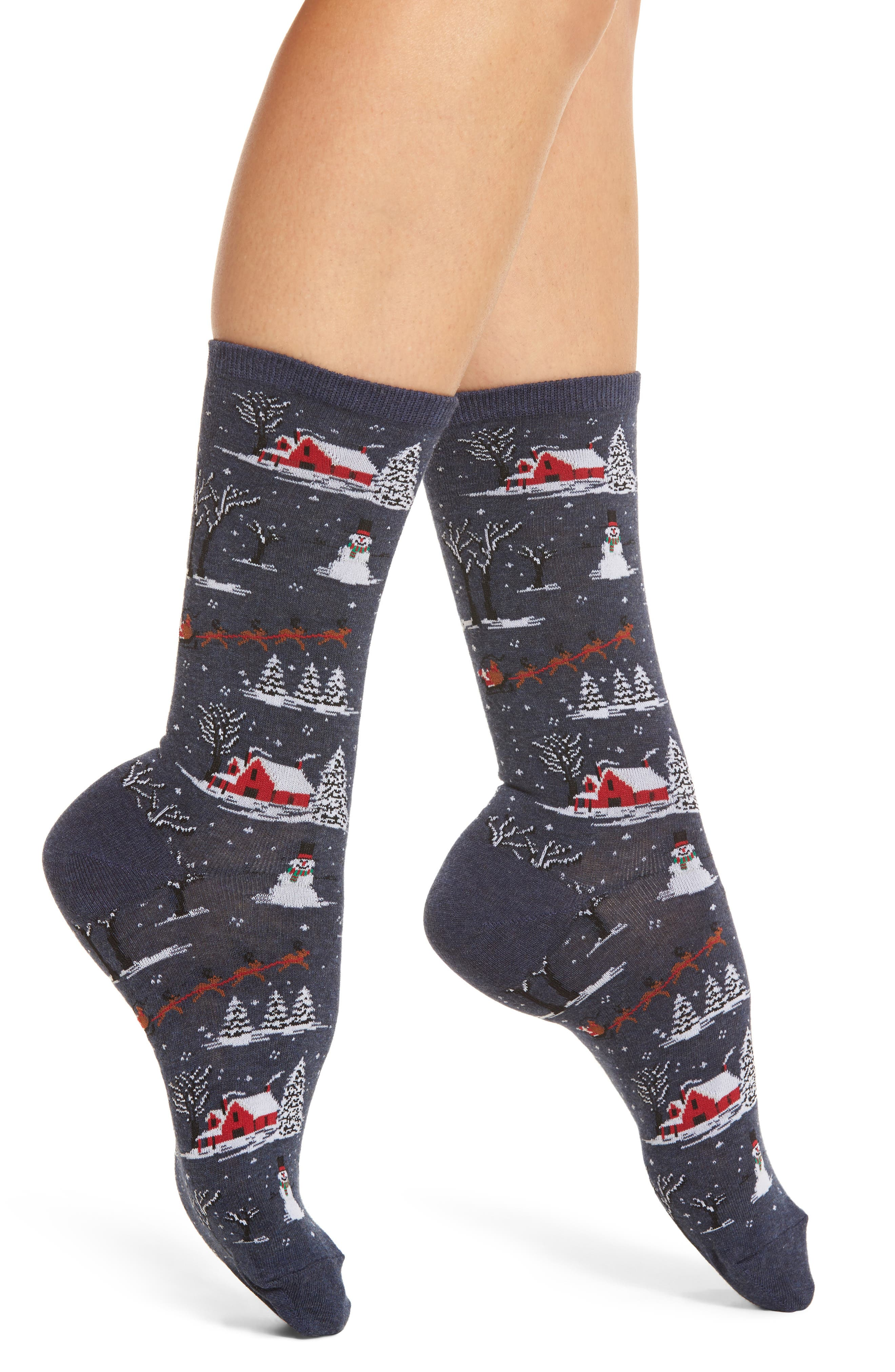 Hot Sox Christmas Scene Crew Socks (3 for $15)