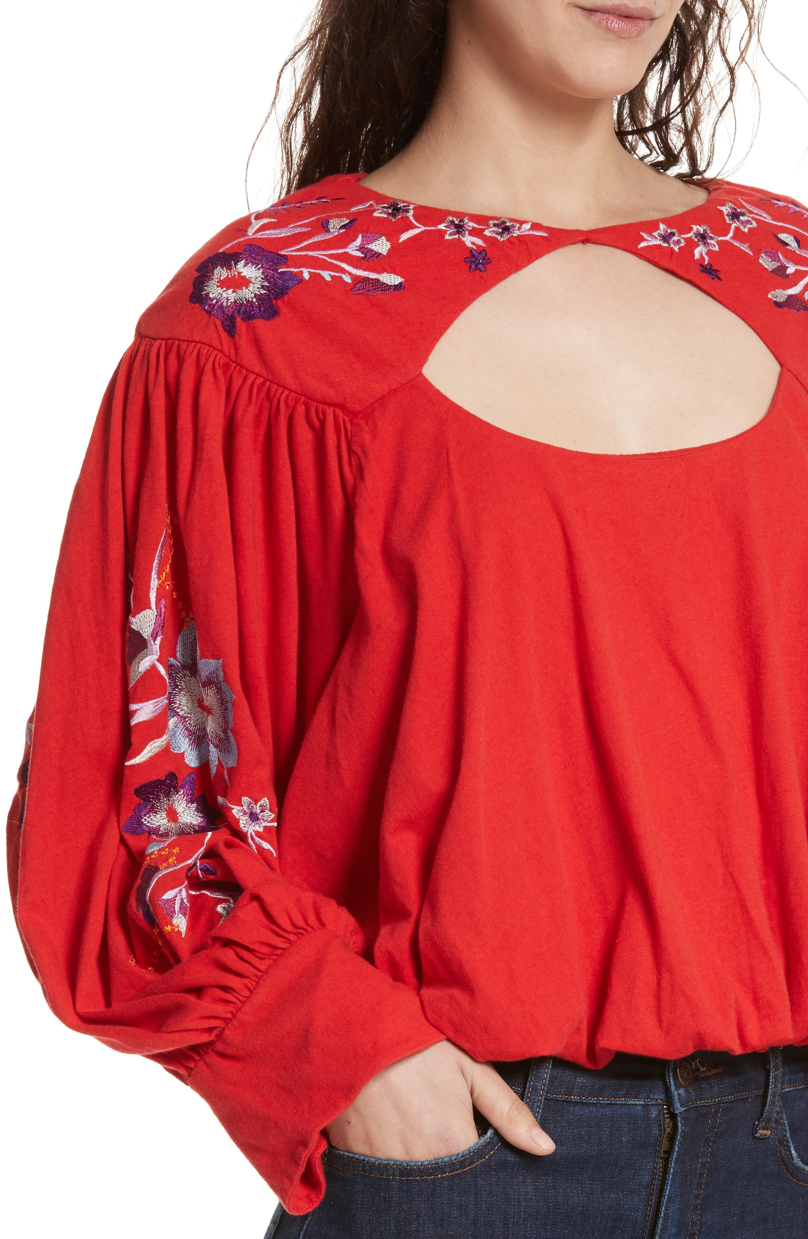 Alternate Image 4  - Free People Lita Embroidered Bell Sleeve Top