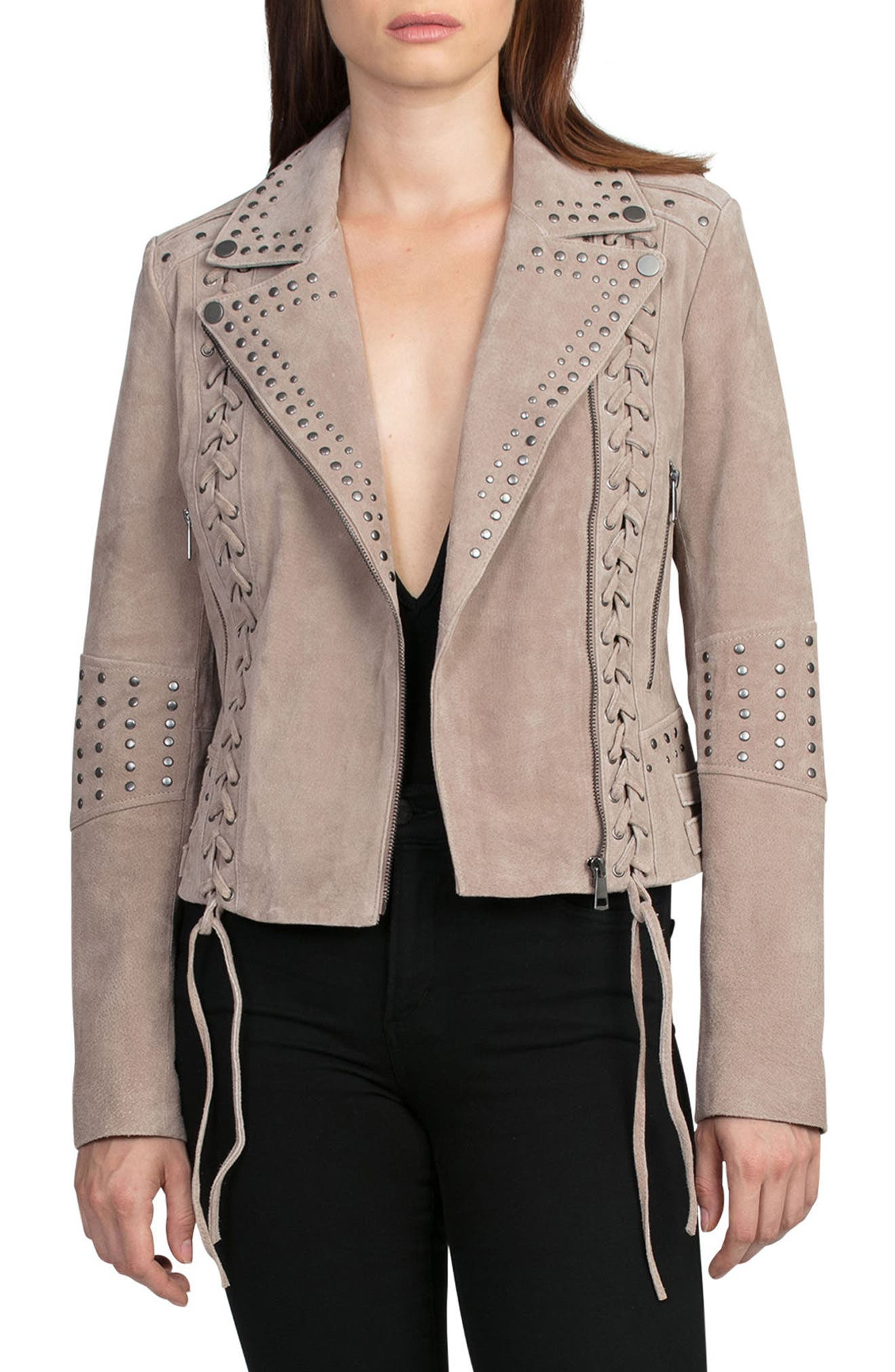 Bagatelle Studded Suede Jacket,                             Main thumbnail 1, color,                             Latte