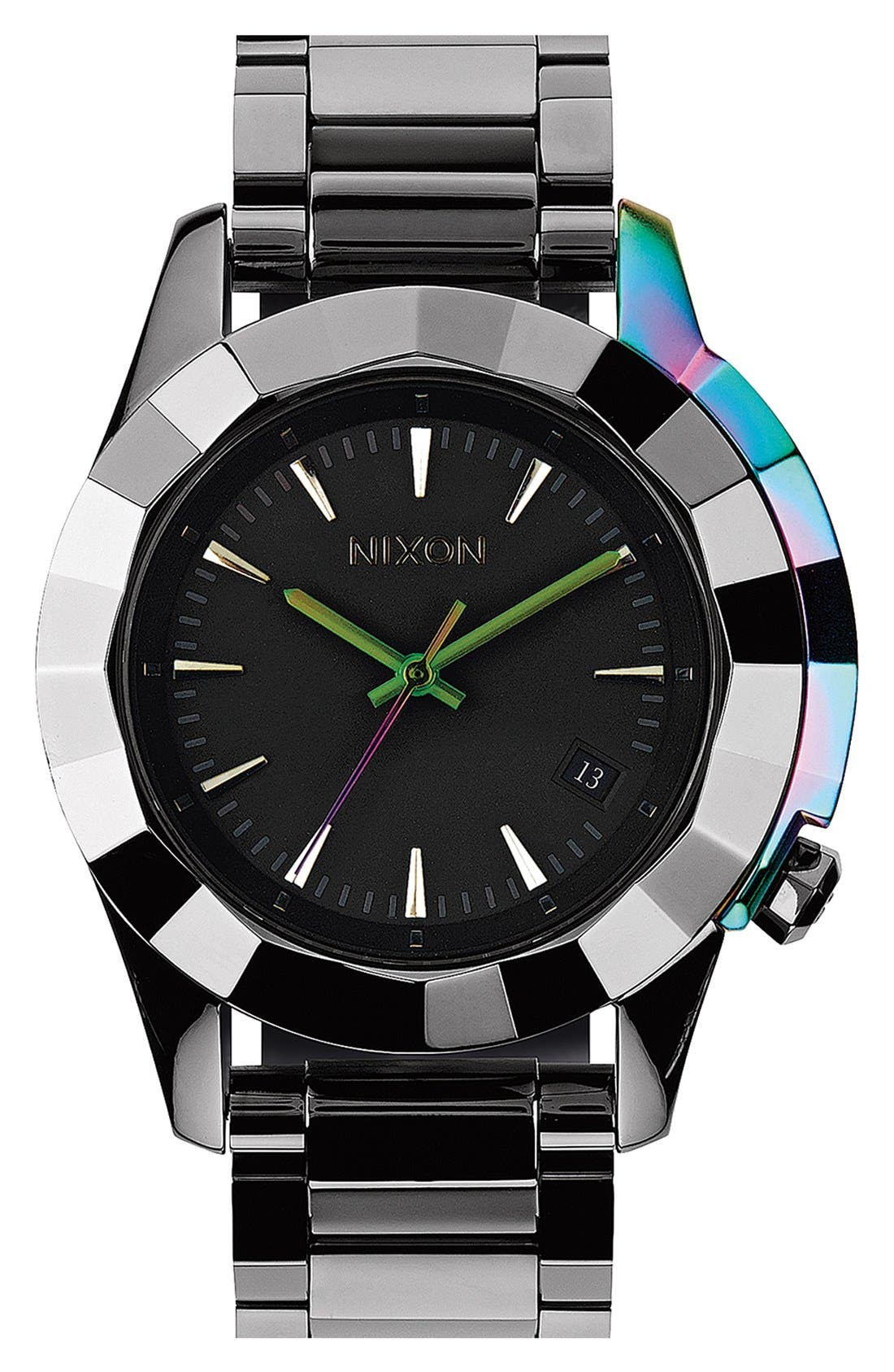 Alternate Image 1 Selected - Nixon 'The Monarch' Iridescent Accent Faceted Bezel Bracelet Watch, 38mm