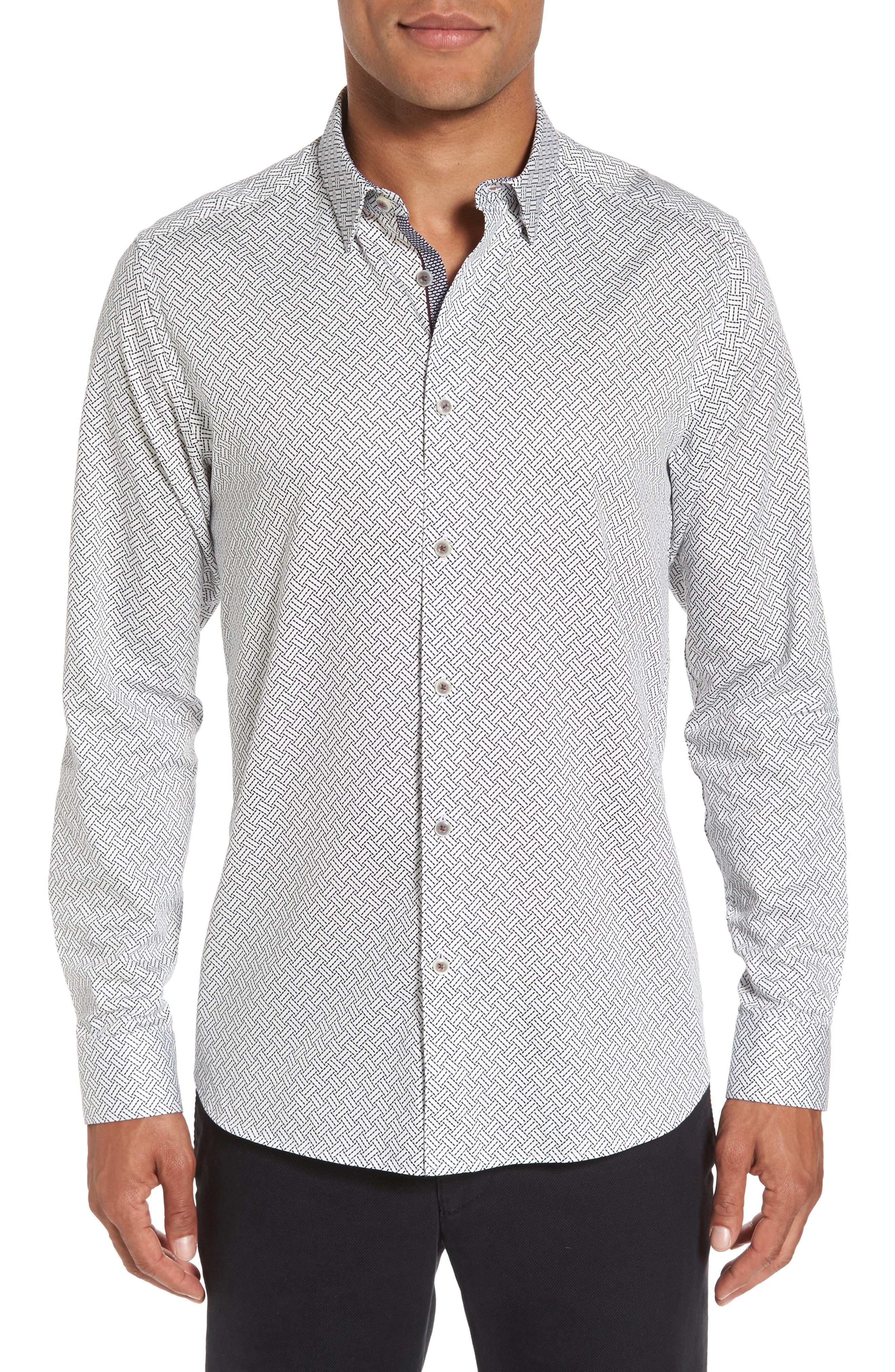 Larosh Slim Fit Basket Weave Print Sport Shirt,                             Main thumbnail 1, color,                             White