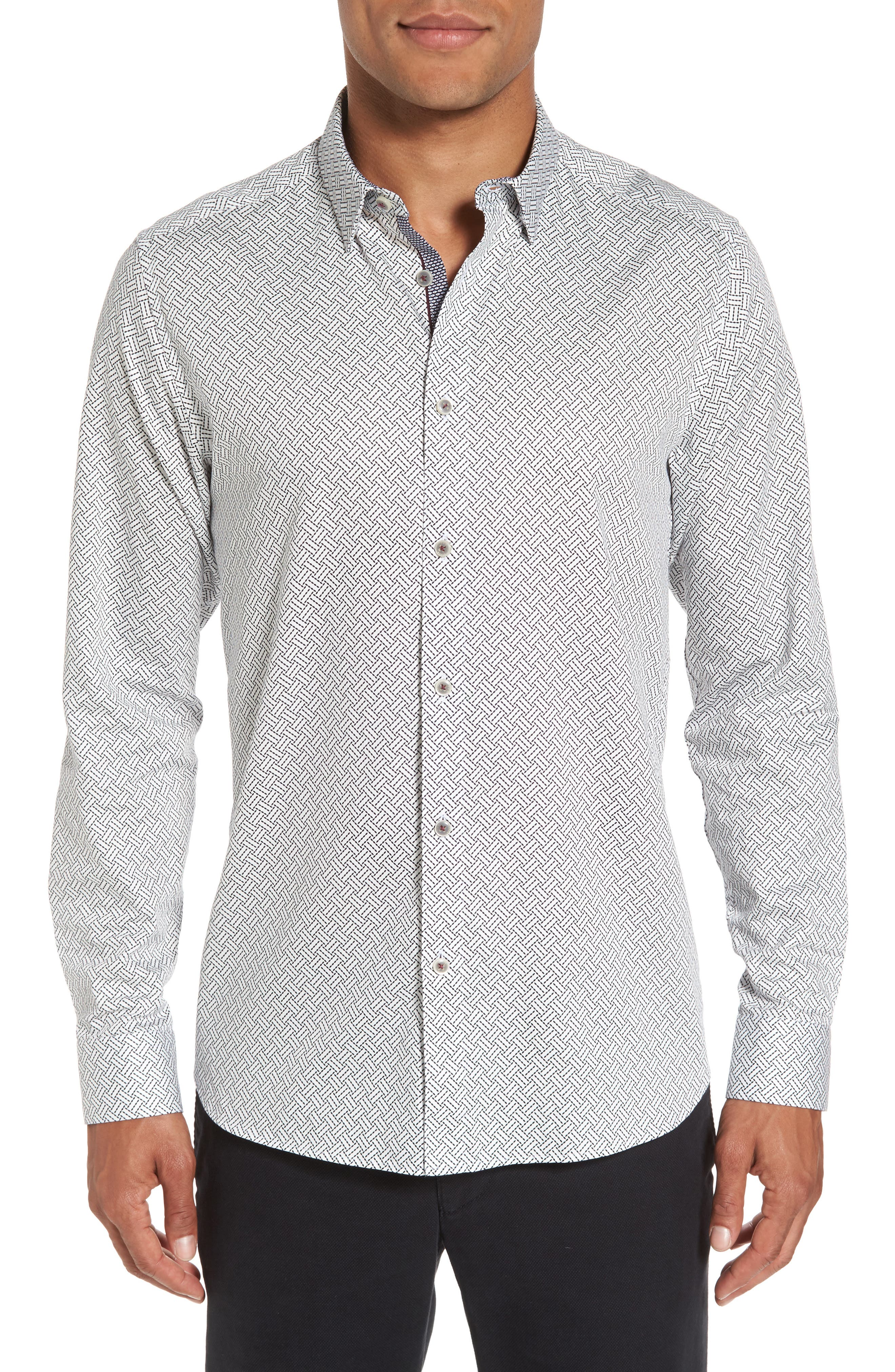 Larosh Slim Fit Basket Weave Print Sport Shirt,                         Main,                         color, White