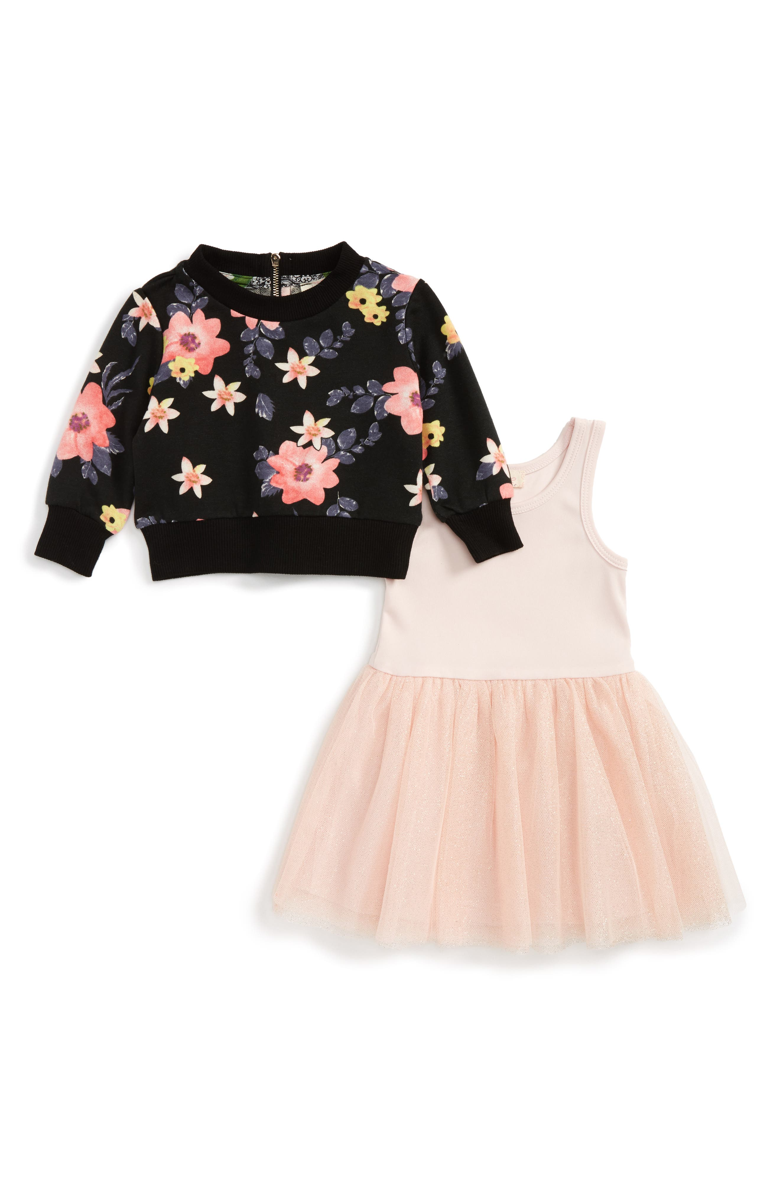 Truly Me Floral Print Sweater & Tulle Dress Set (Baby Girls)