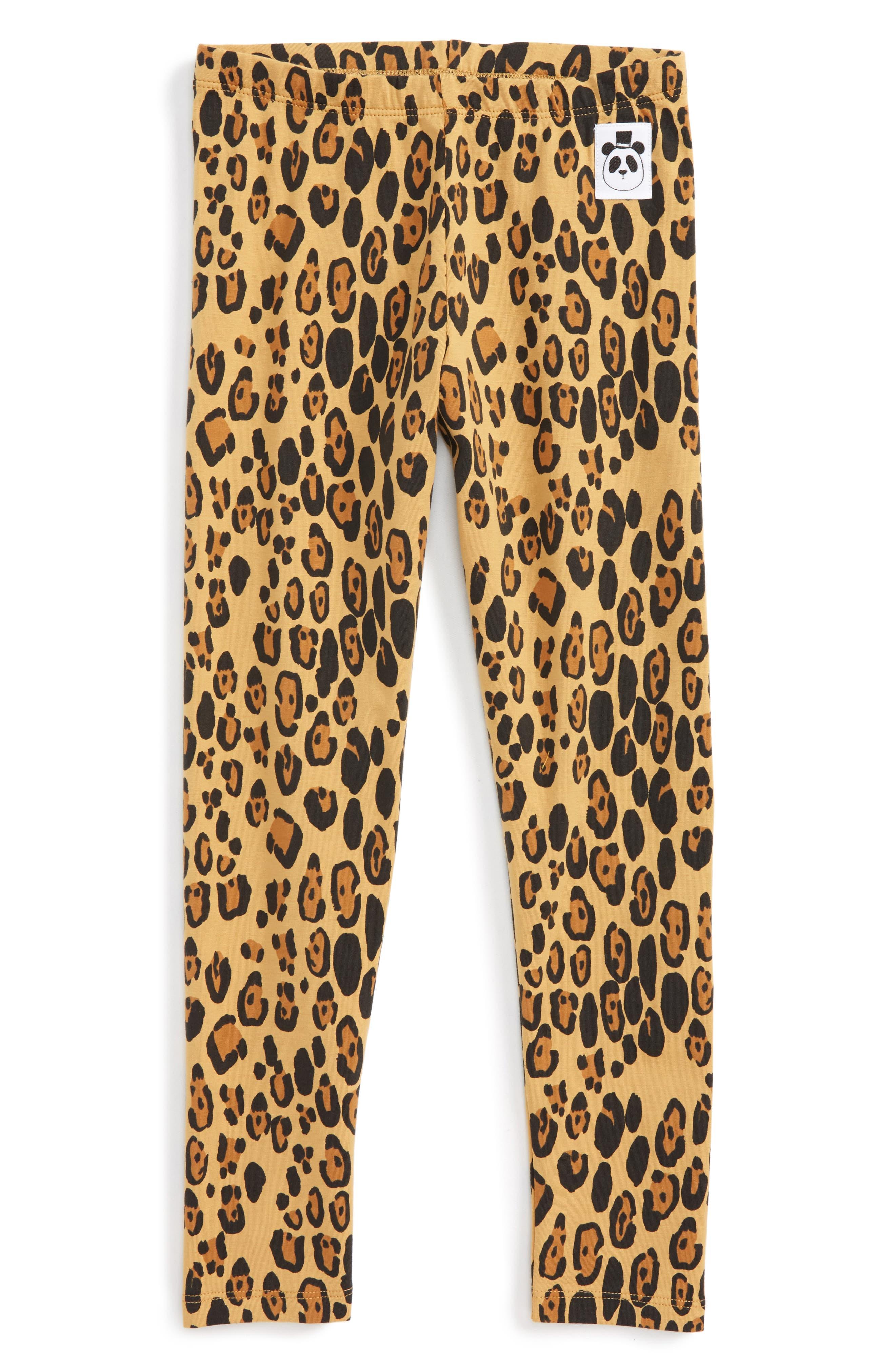 Mini Rodini Leopard Print Organic Cotton Basic Legging (Toddler Girls & Little Girls)