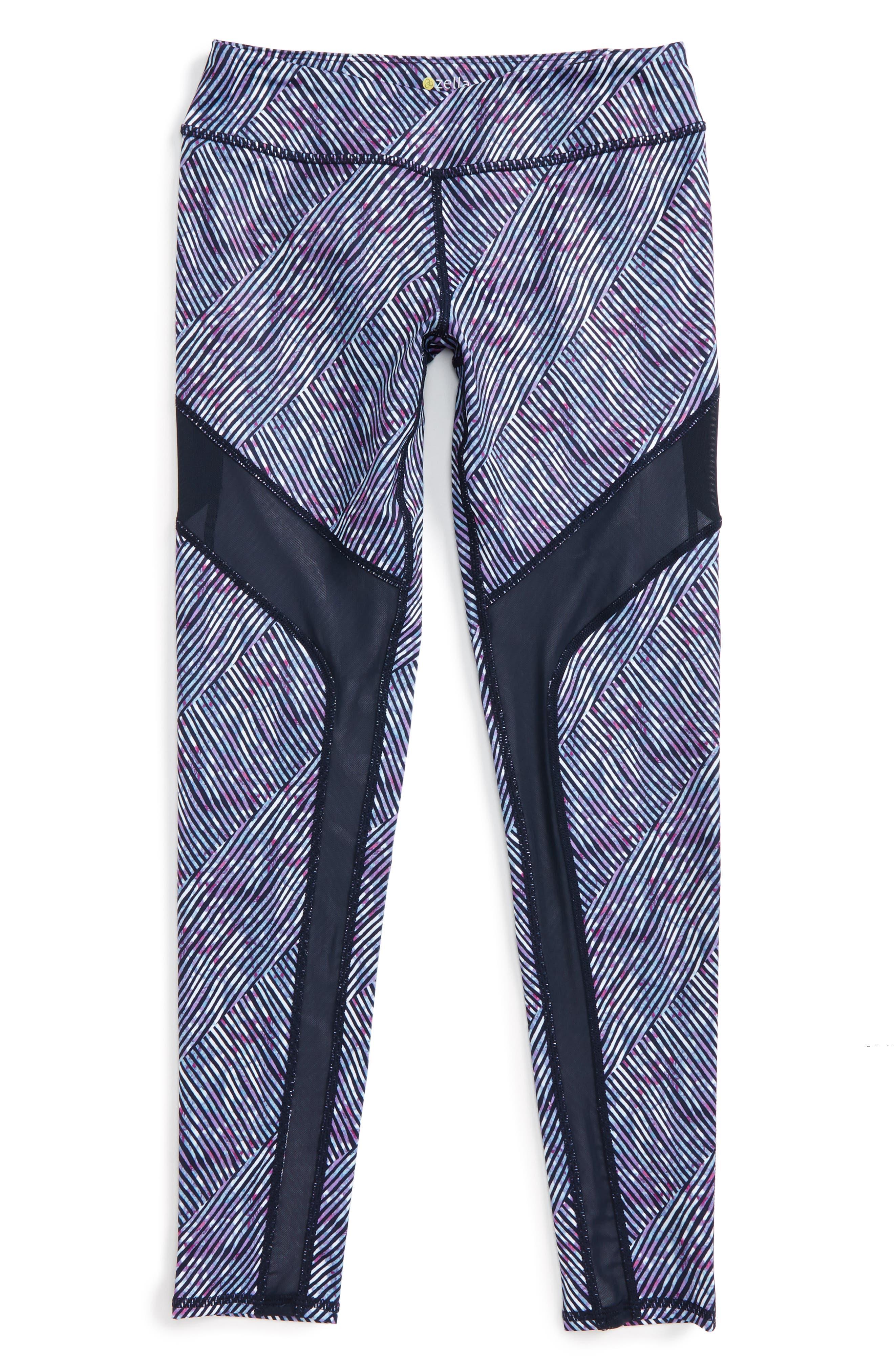 Mesh Trim Print Leggings,                         Main,                         color, Navy Eclipse Diagonal Wash