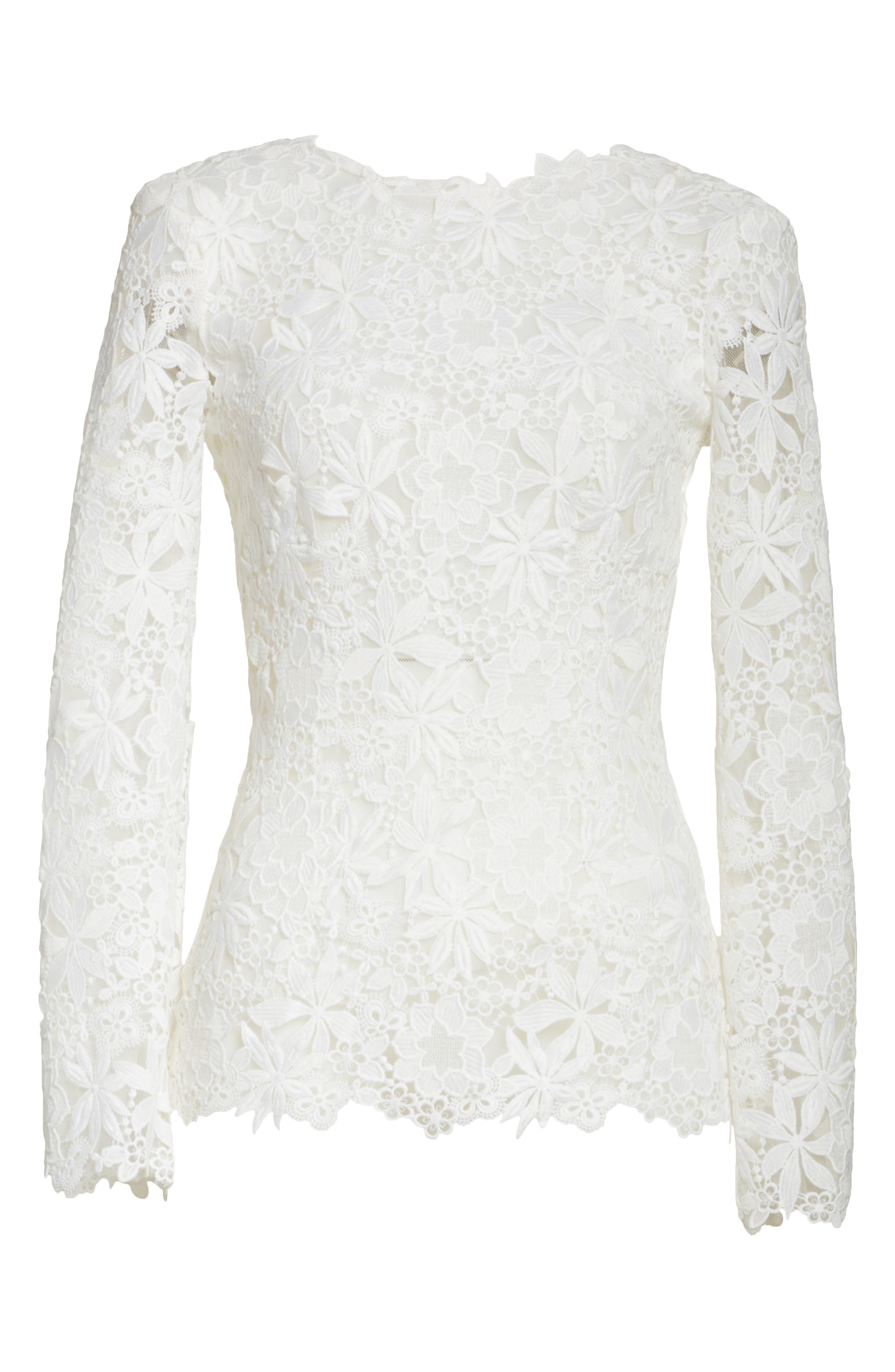 Guipure Lace Top,                             Alternate thumbnail 7, color,                             Silk White