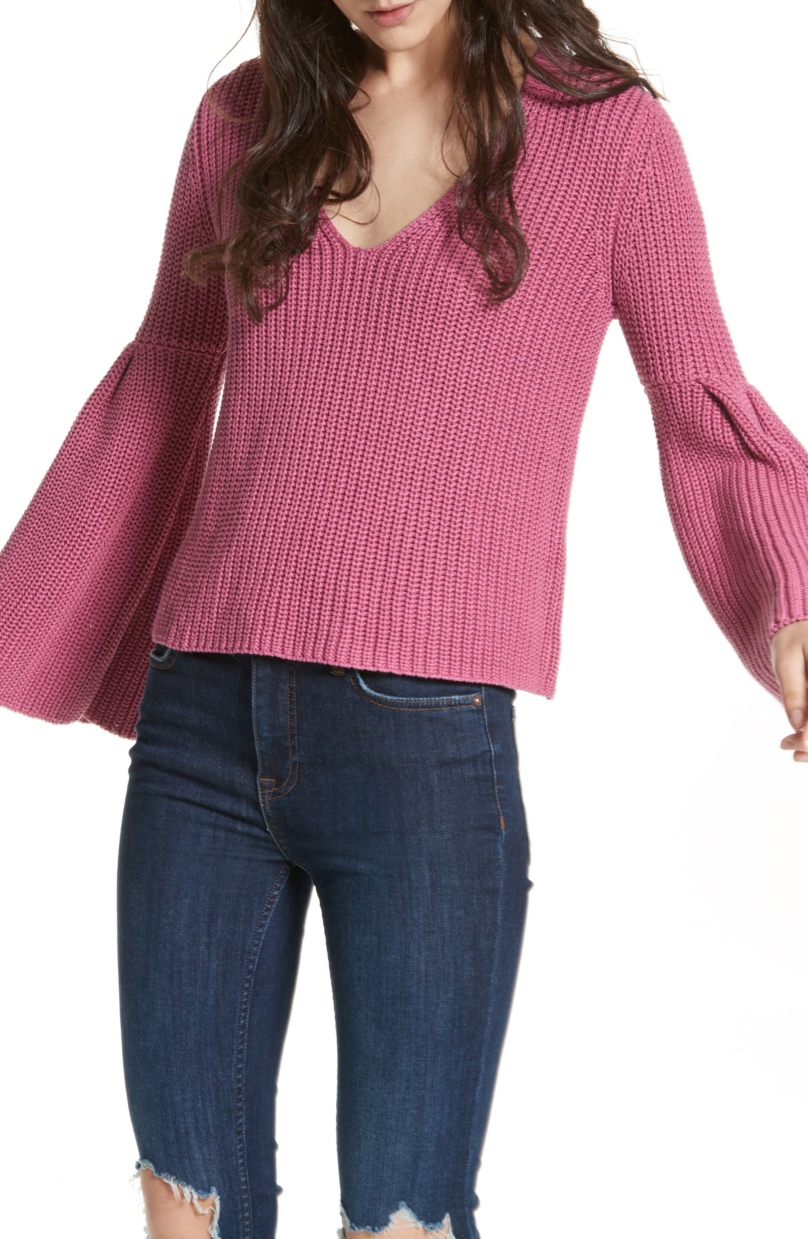 Damsel Bell Sleeve Pullover,                         Main,                         color, Rose