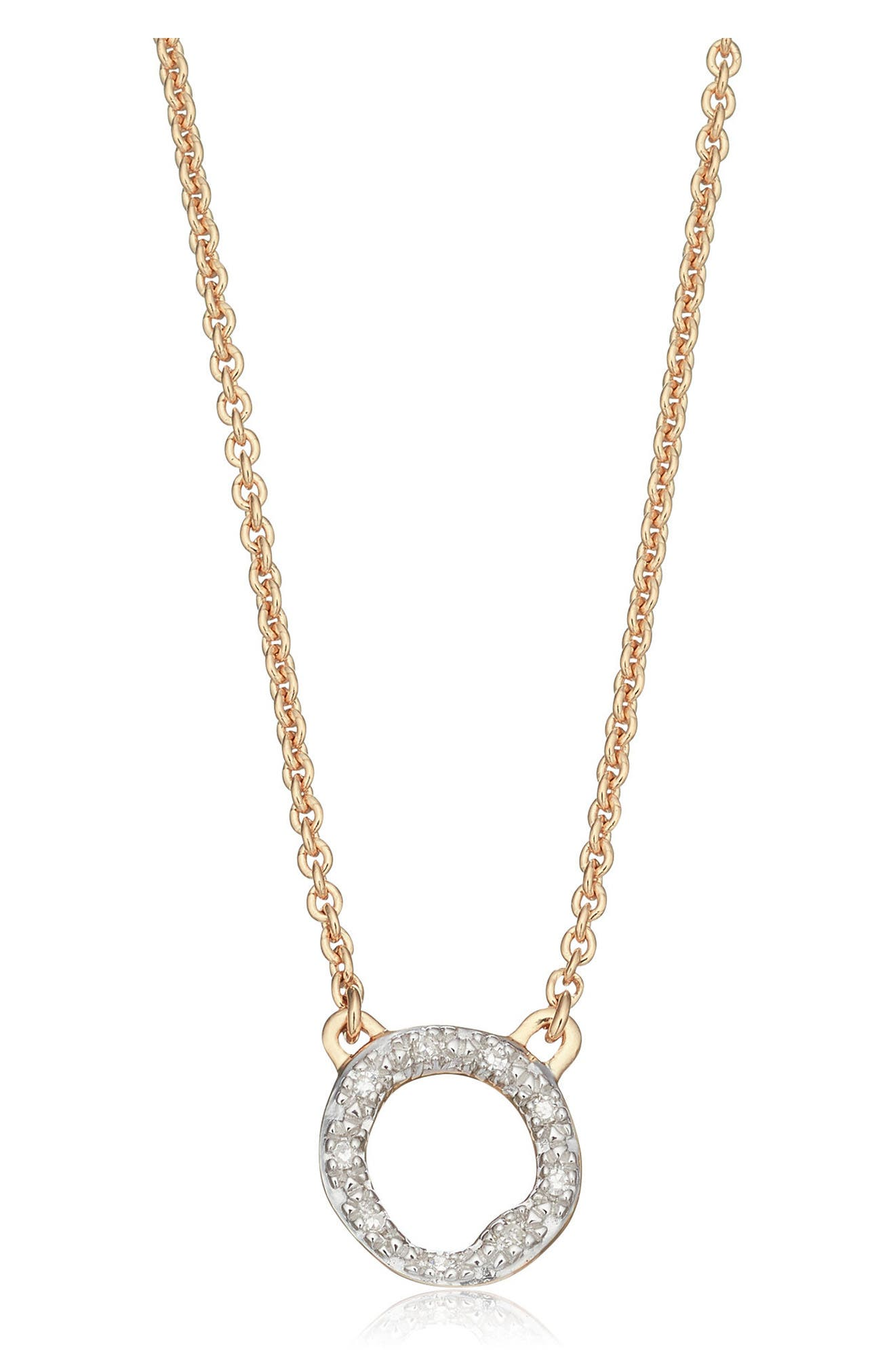 Alternate Image 1 Selected - Monica Vinader Riva Diamond Circle Pendant Necklace