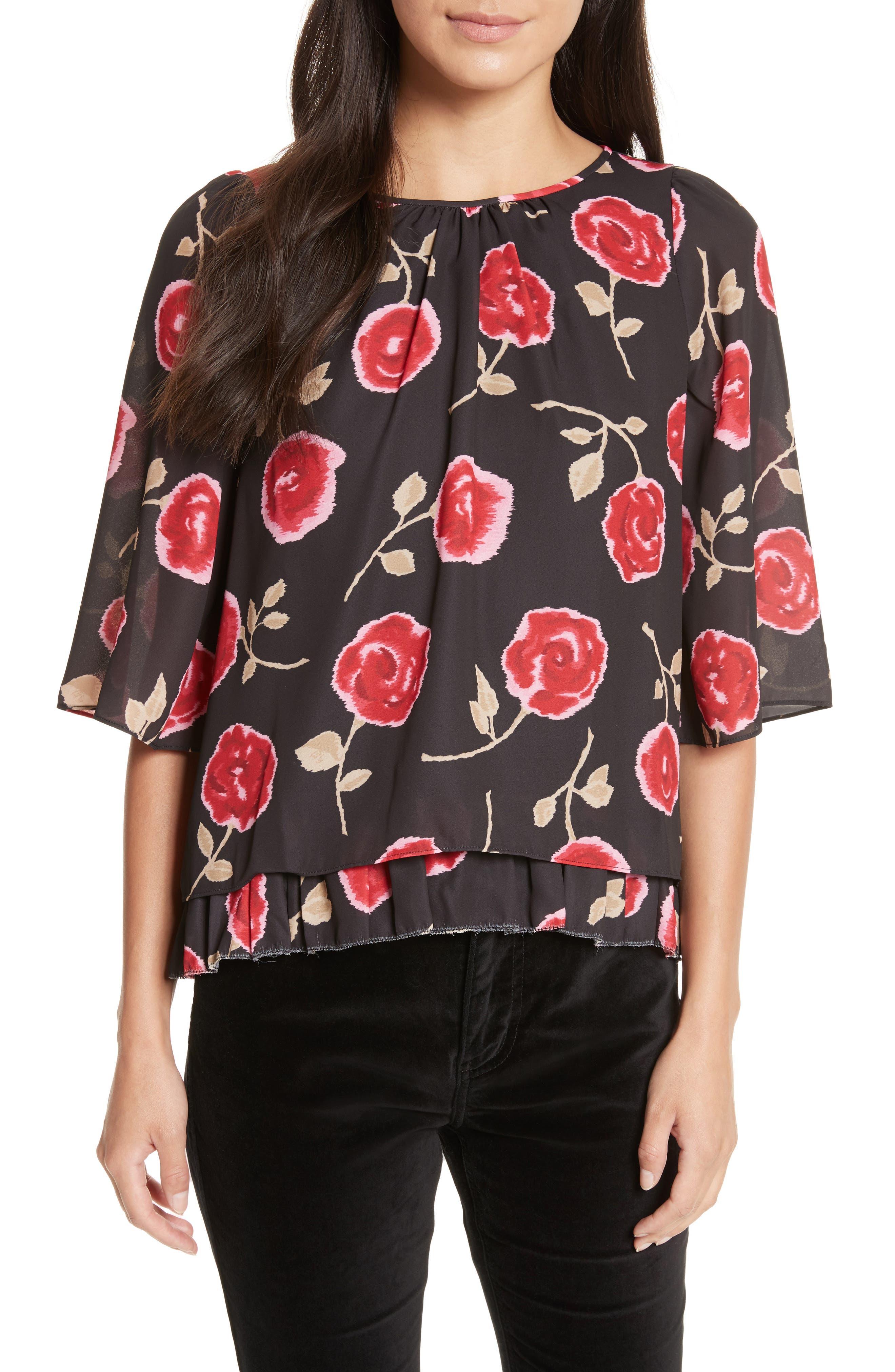 hazy rose layered top,                         Main,                         color, Black Multi