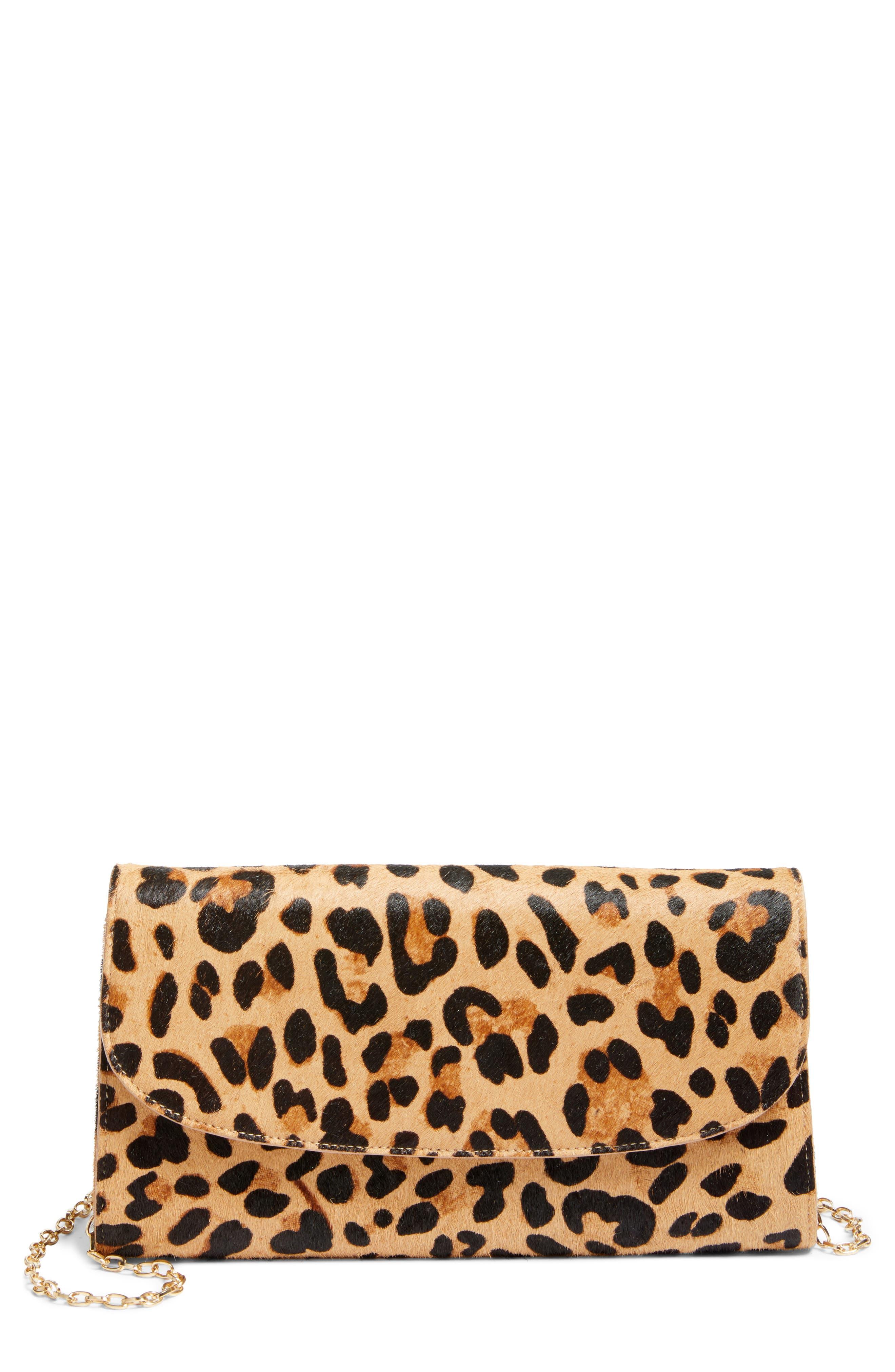 Genuine Calf Hair Leopard Print Clutch,                             Main thumbnail 1, color,                             Natural Leopard