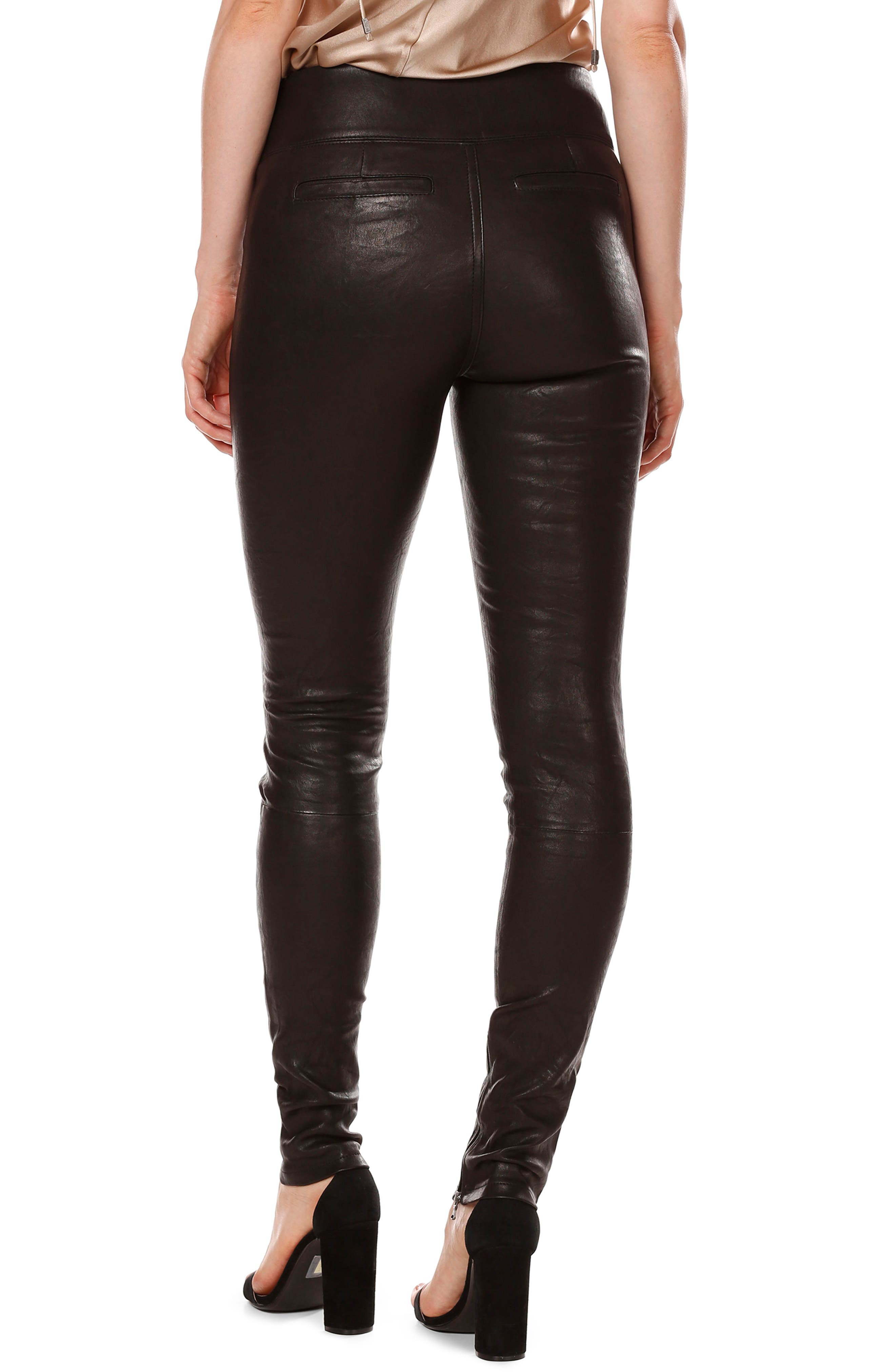 Rosie HW x PAIGE Ellery Ankle Zip Leather Pants,                             Alternate thumbnail 3, color,                             Black Leather