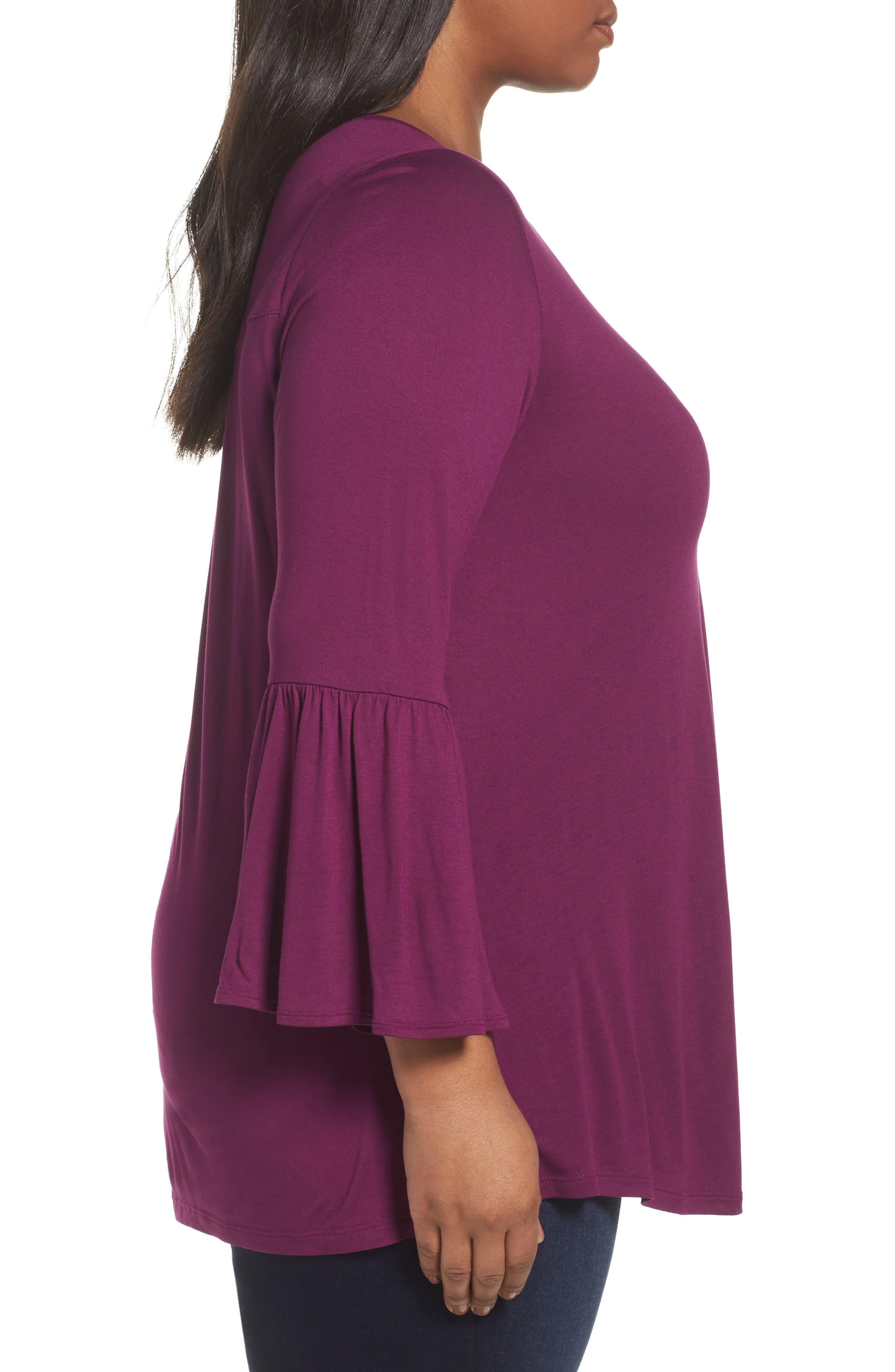 Bell Sleeve Tee,                             Alternate thumbnail 3, color,                             Purple Dark
