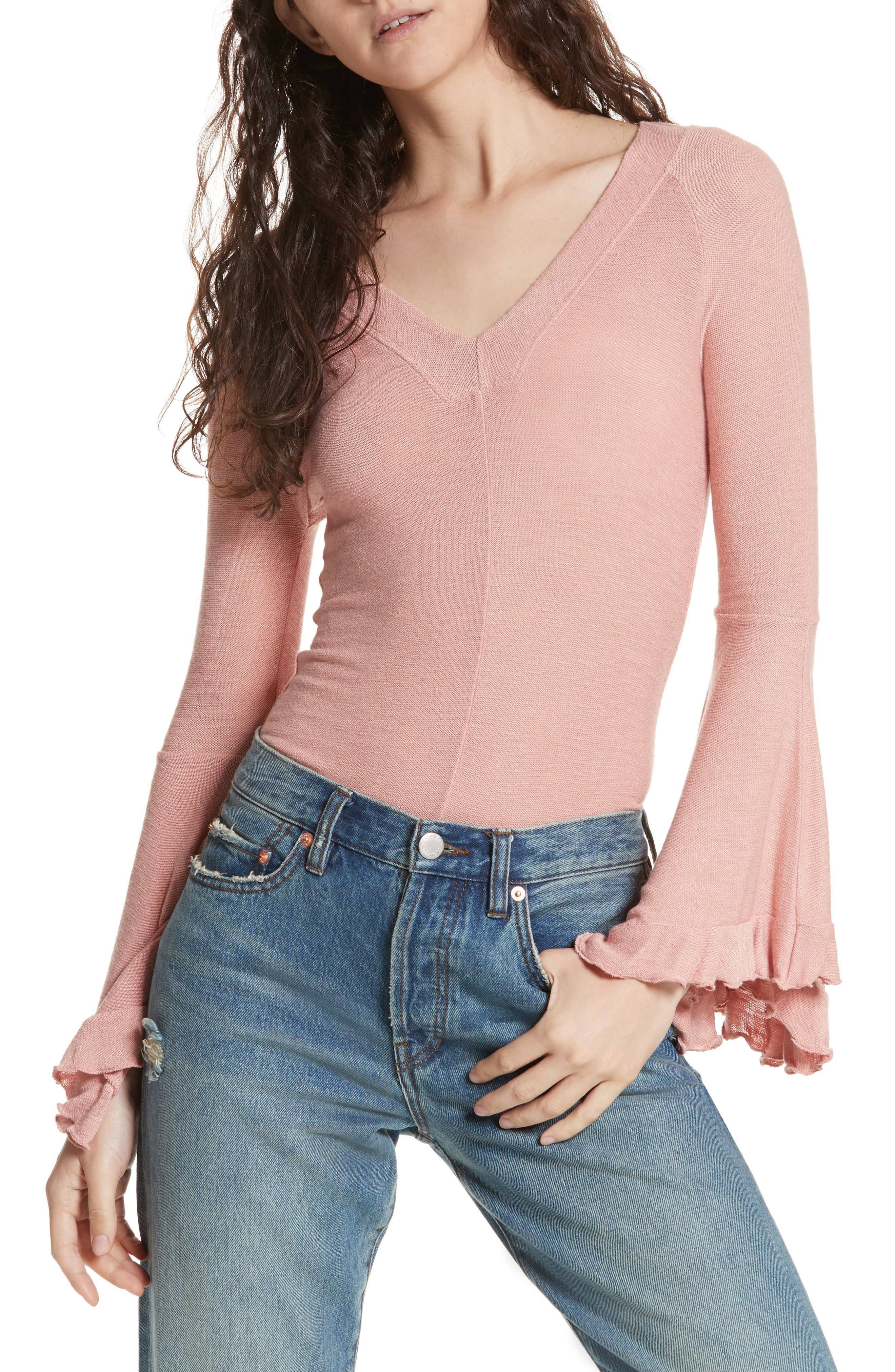 Soo Dramatic Bell Sleeve Top,                         Main,                         color, Rose