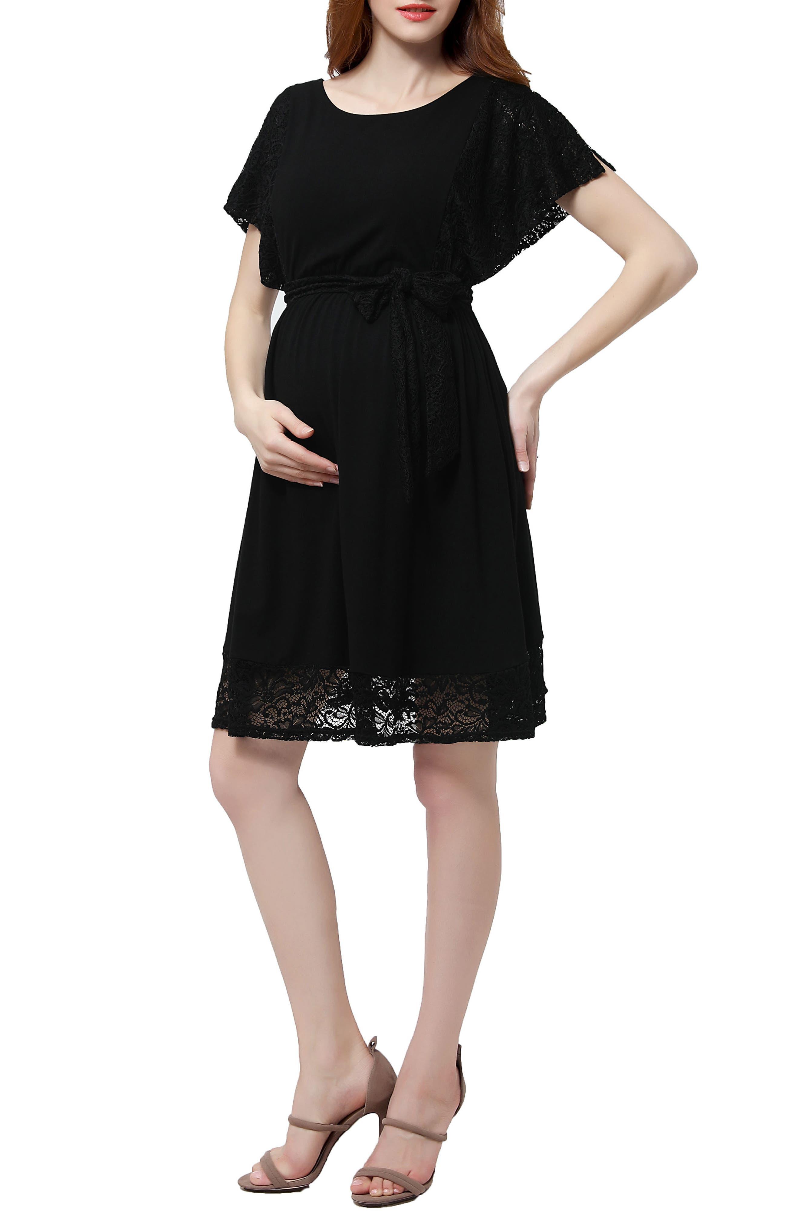 Alison Lace Trim Maternity Dress,                             Main thumbnail 1, color,                             Black