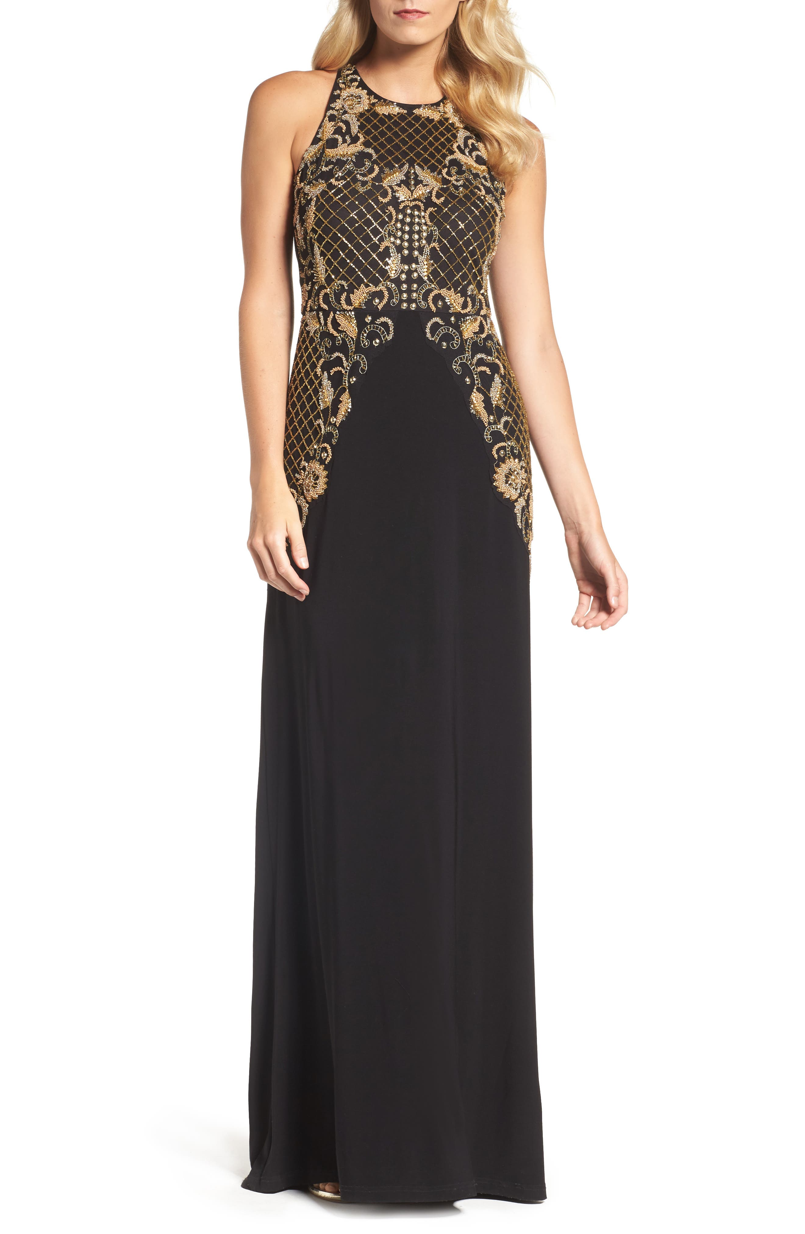 Beaded Gown,                         Main,                         color, Black Gold