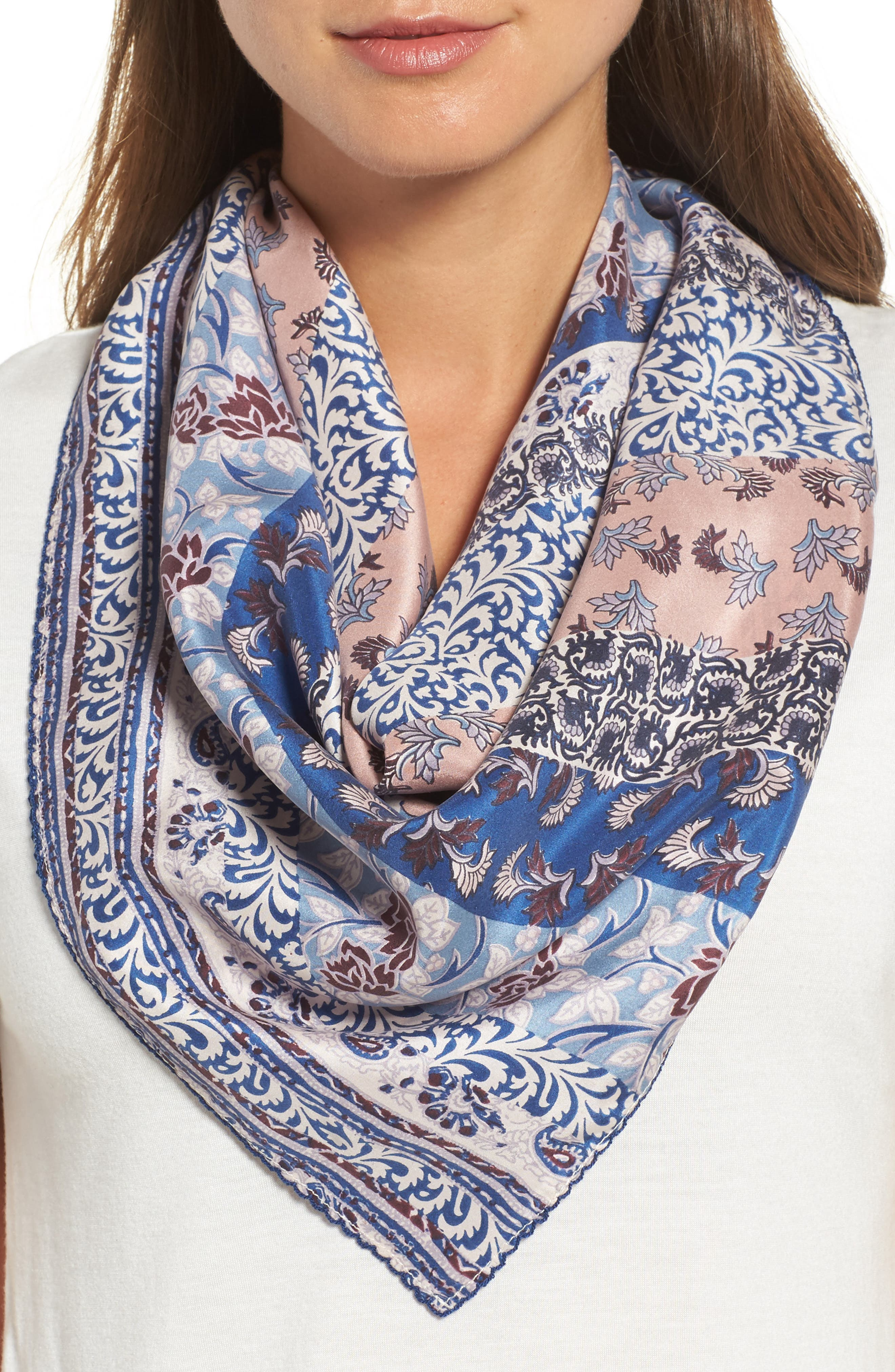 Bloomsbury Square Silk Scarf,                         Main,                         color, Navy Combo