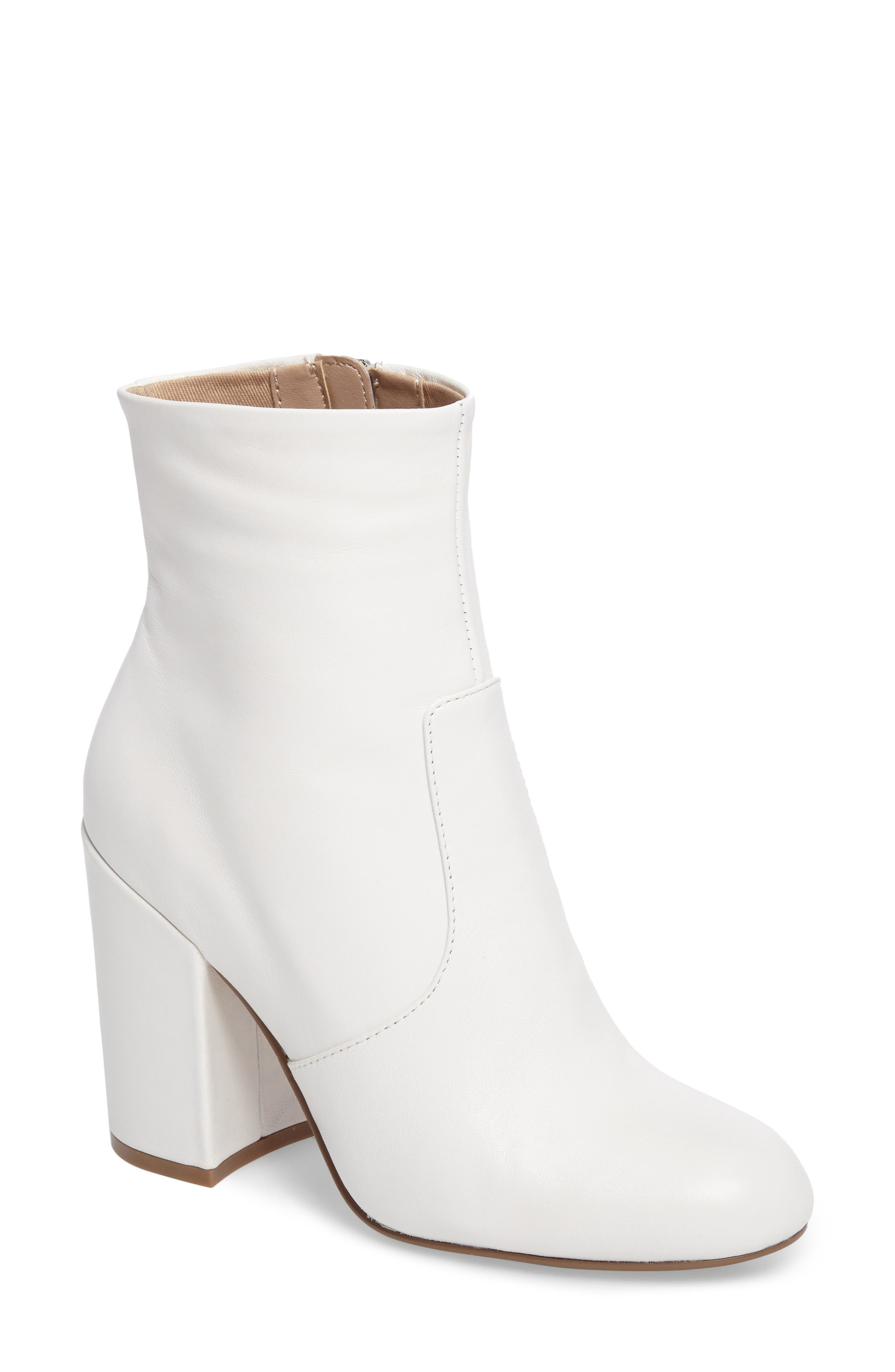Gazer Bootie,                         Main,                         color, White Leather