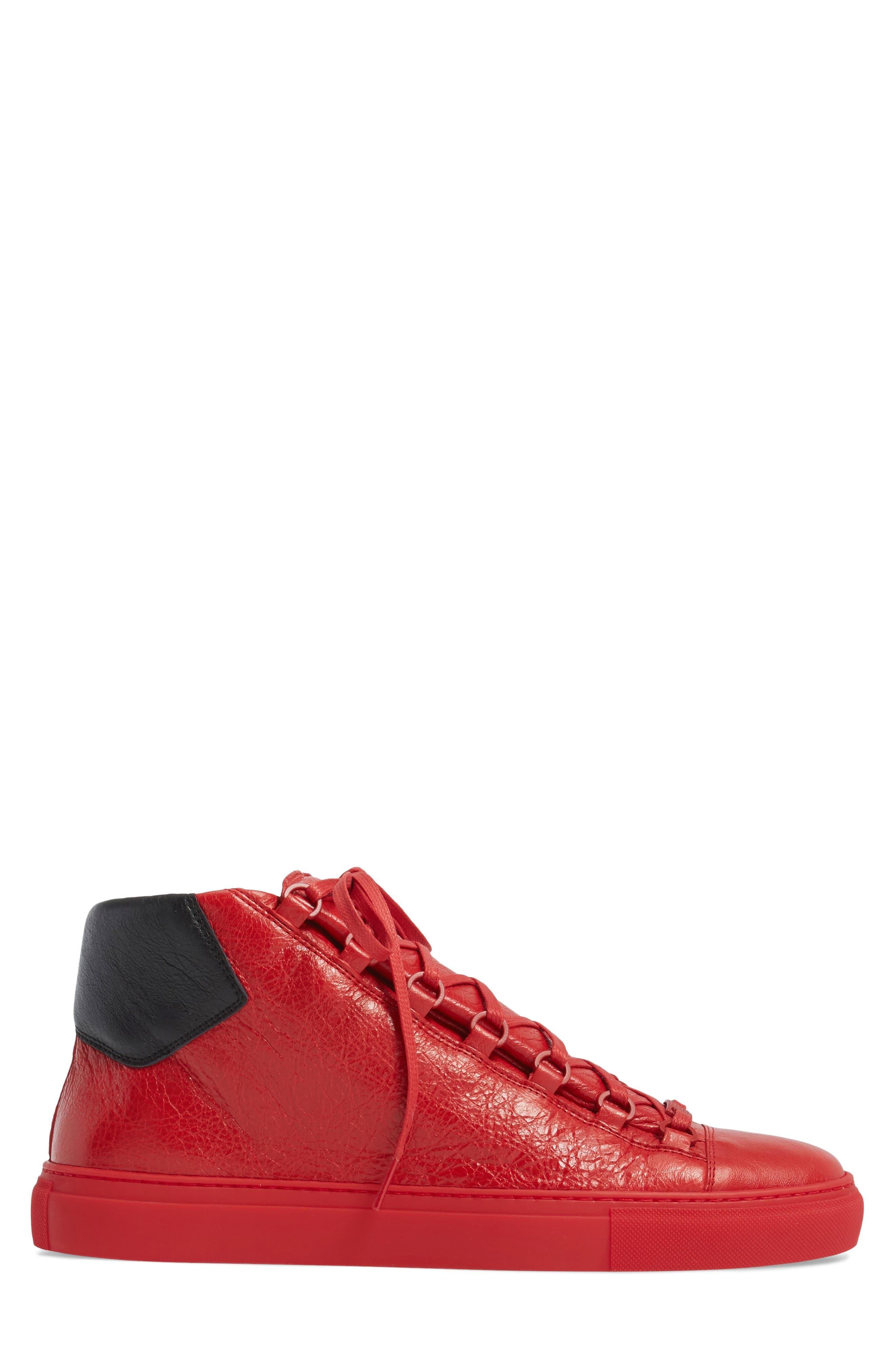 Arena High Sneaker,                             Alternate thumbnail 3, color,                             Rouge Paprika/ Noir Leather