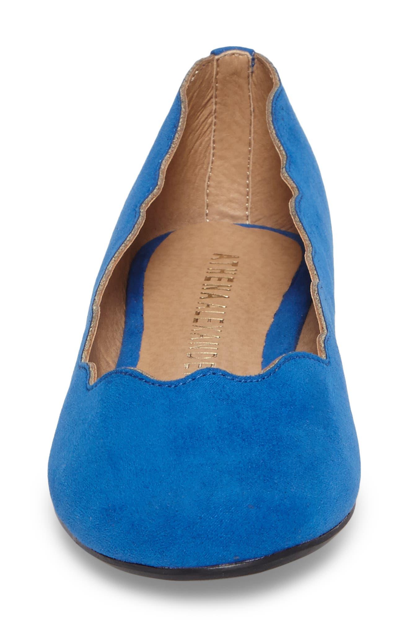 Tallye Ballet Flat,                             Alternate thumbnail 4, color,                             Royal Blue Faux Suede