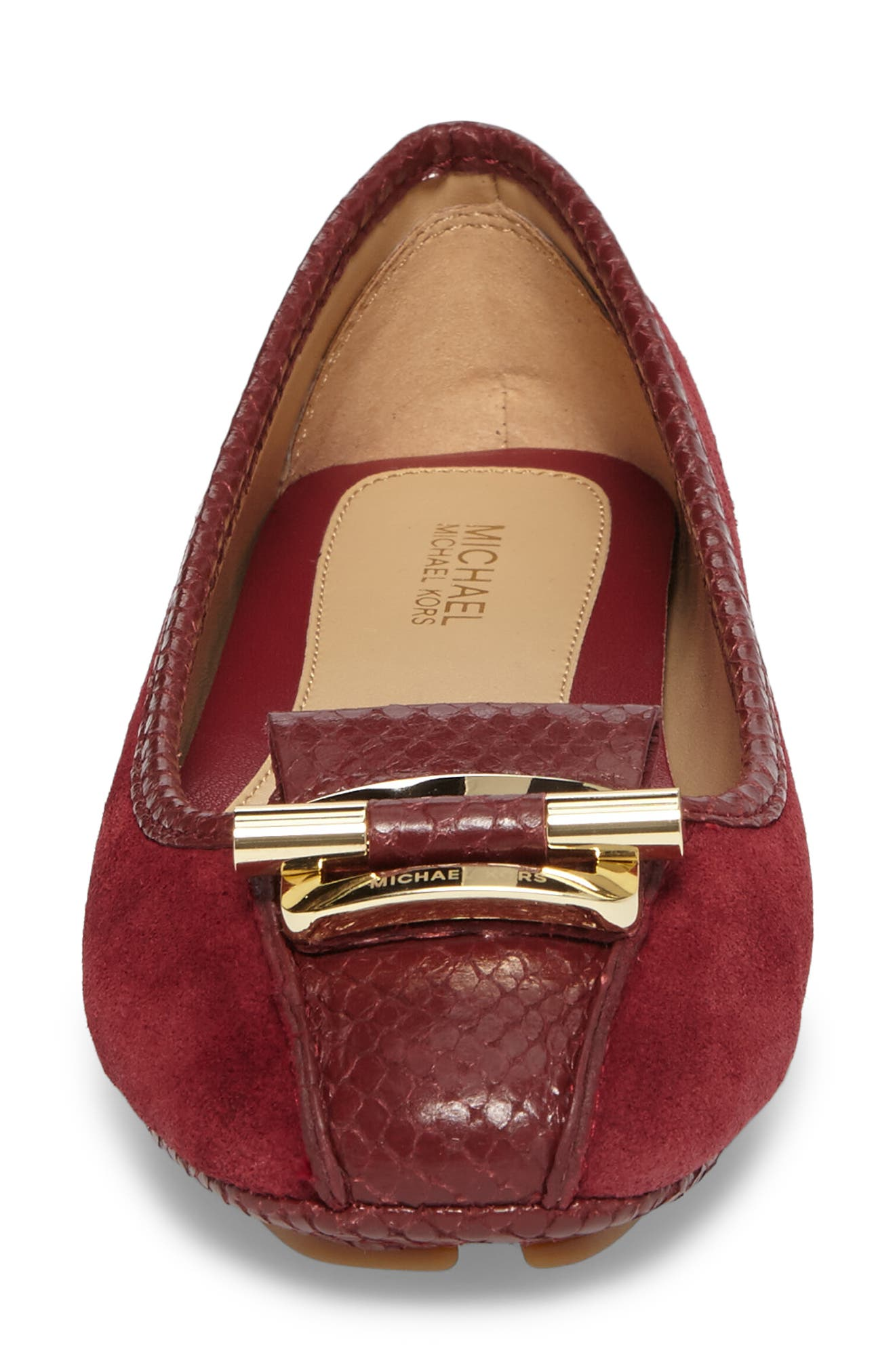 Gloria Flat,                             Alternate thumbnail 4, color,                             Mulberry Snake Print Suede