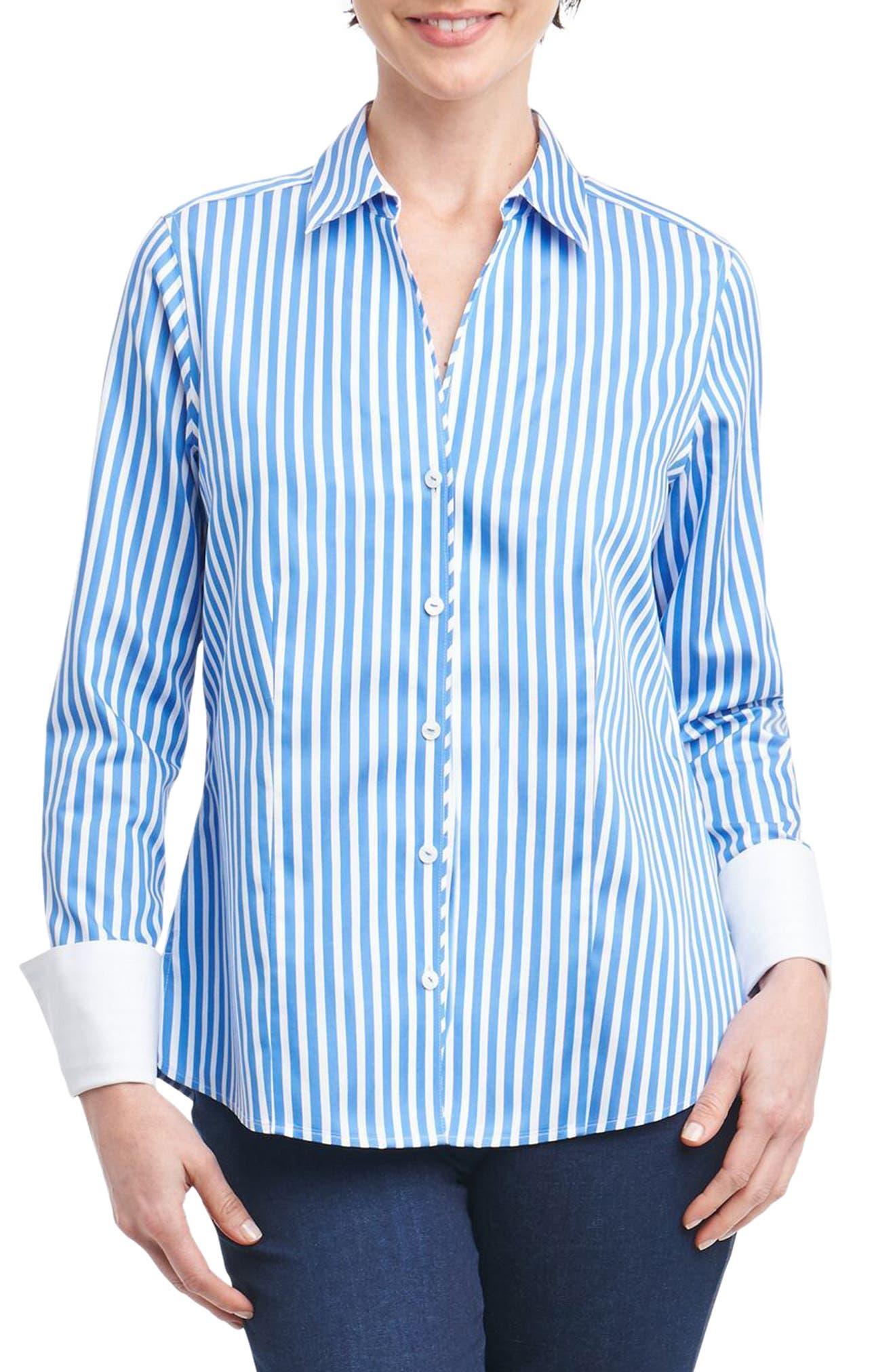 Alternate Image 1 Selected - Foxcroft Lauren Sateen Stripe Shirt (Regular & Petite)
