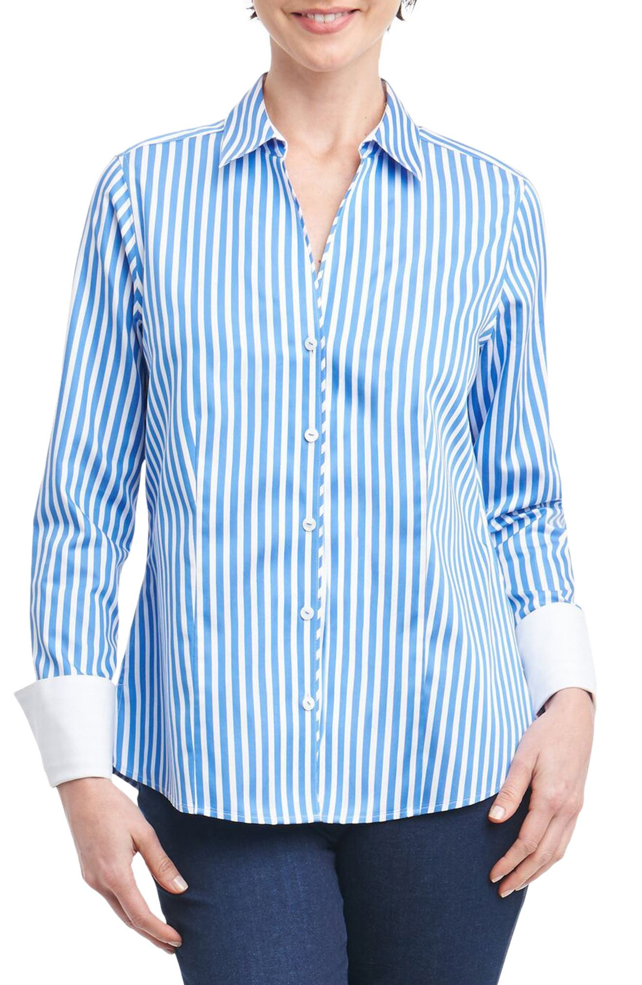 Foxcroft Lauren Sateen Stripe Shirt (Regular & Petite)