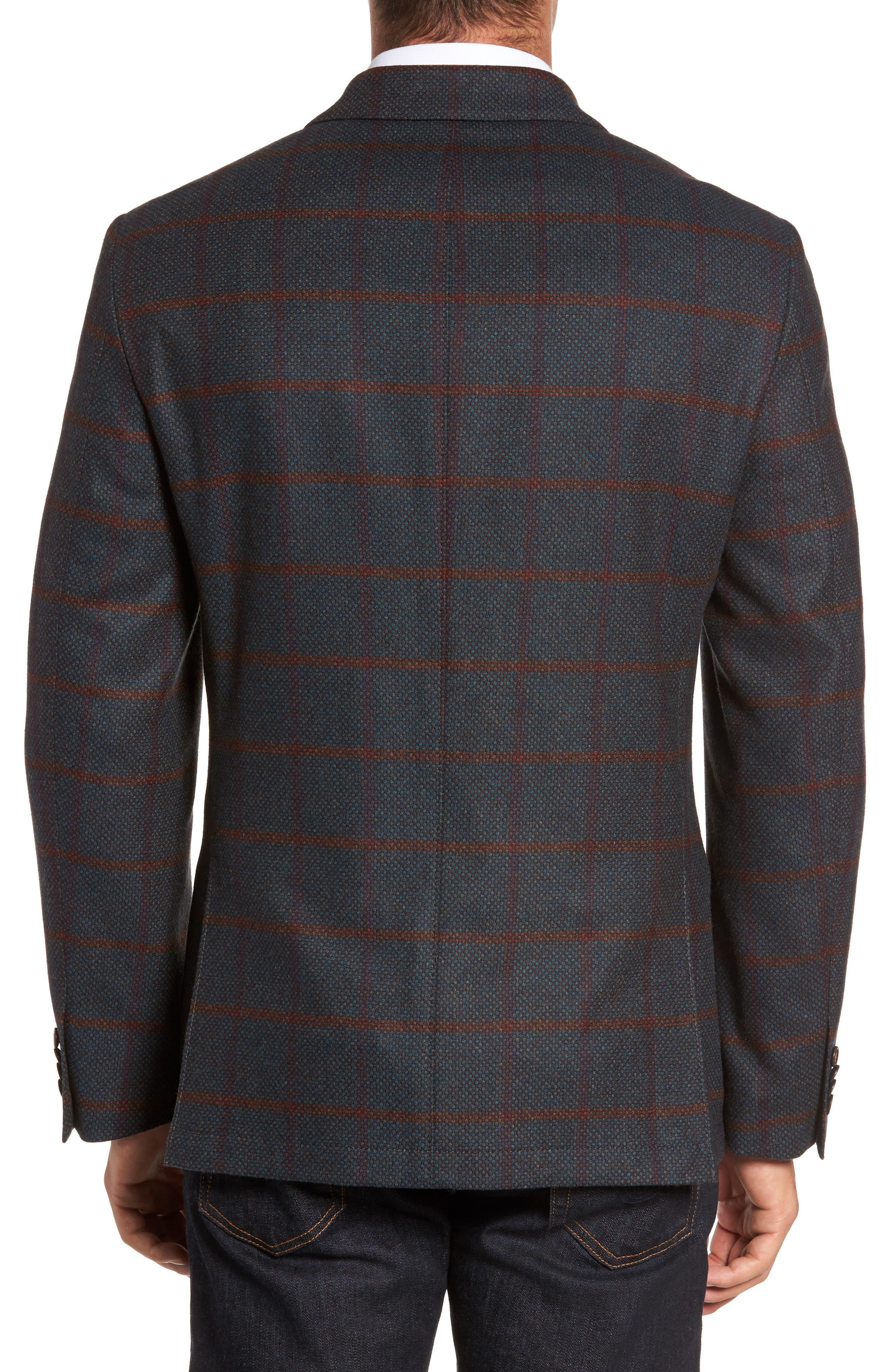 Classic Fit Windowpane Wool Sport Coat,                             Alternate thumbnail 2, color,                             Green