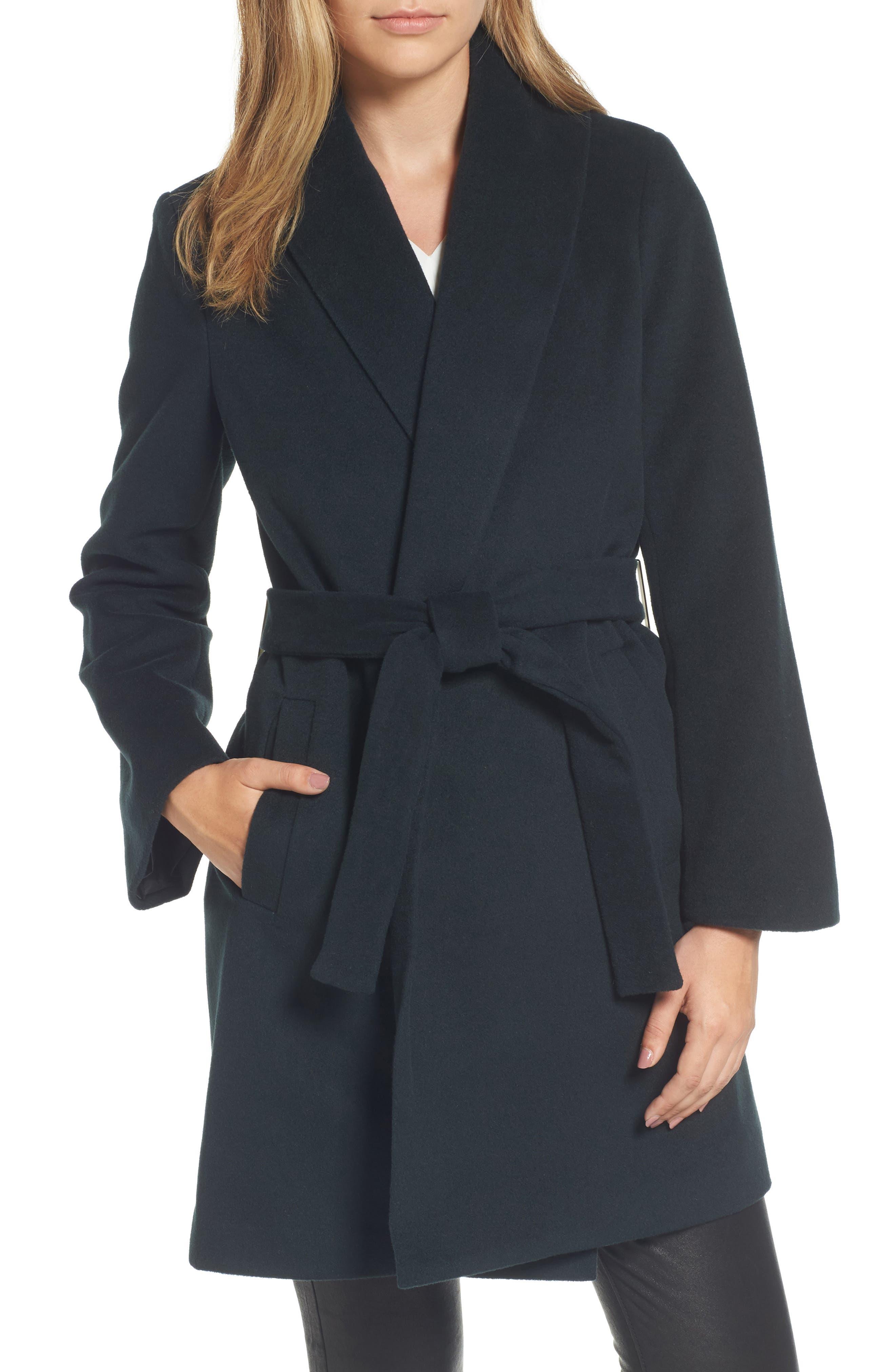 Gabrielle Wool Blend Long Wrap Coat,                         Main,                         color, Forest Green