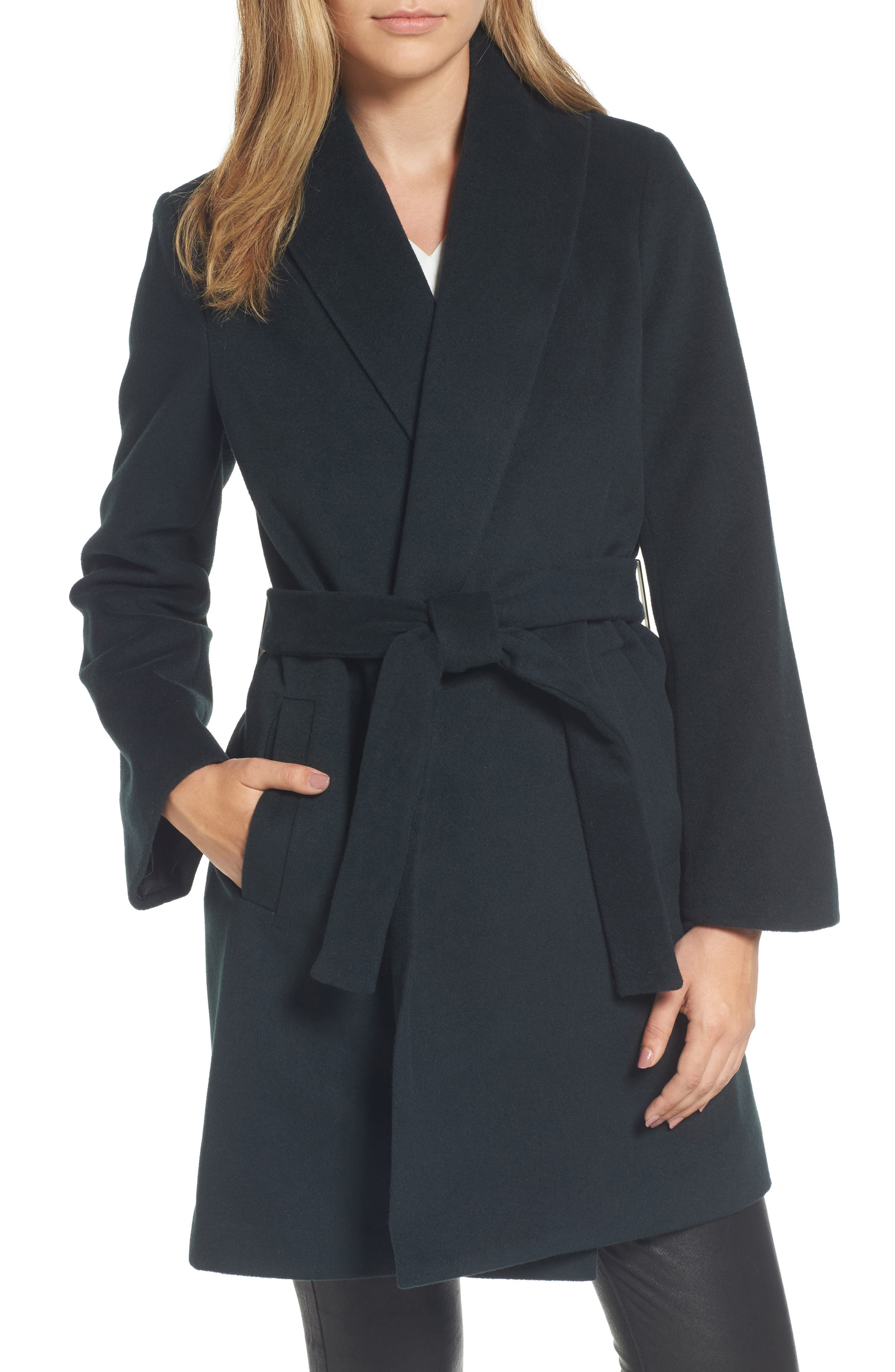 Tahari Gabrielle Wool Blend Long Wrap Coat