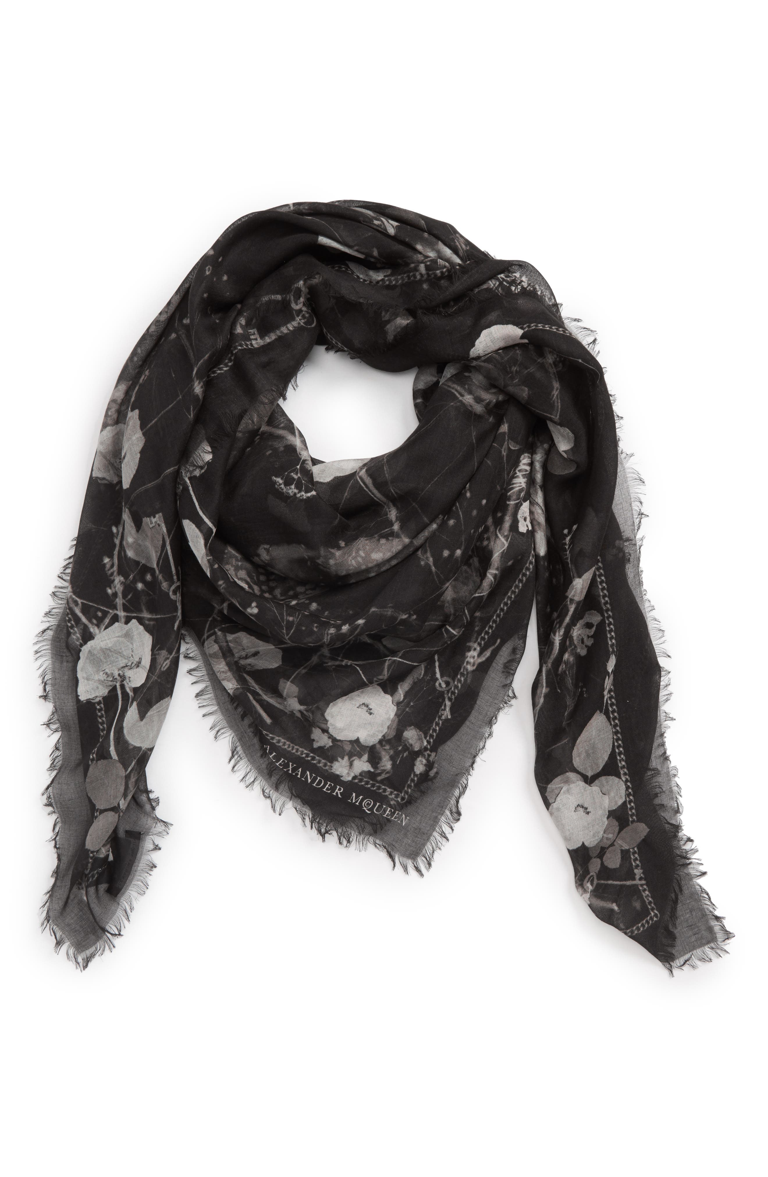Black Magic Silk Blend Scarf,                             Alternate thumbnail 2, color,                             Black/ Light Grey