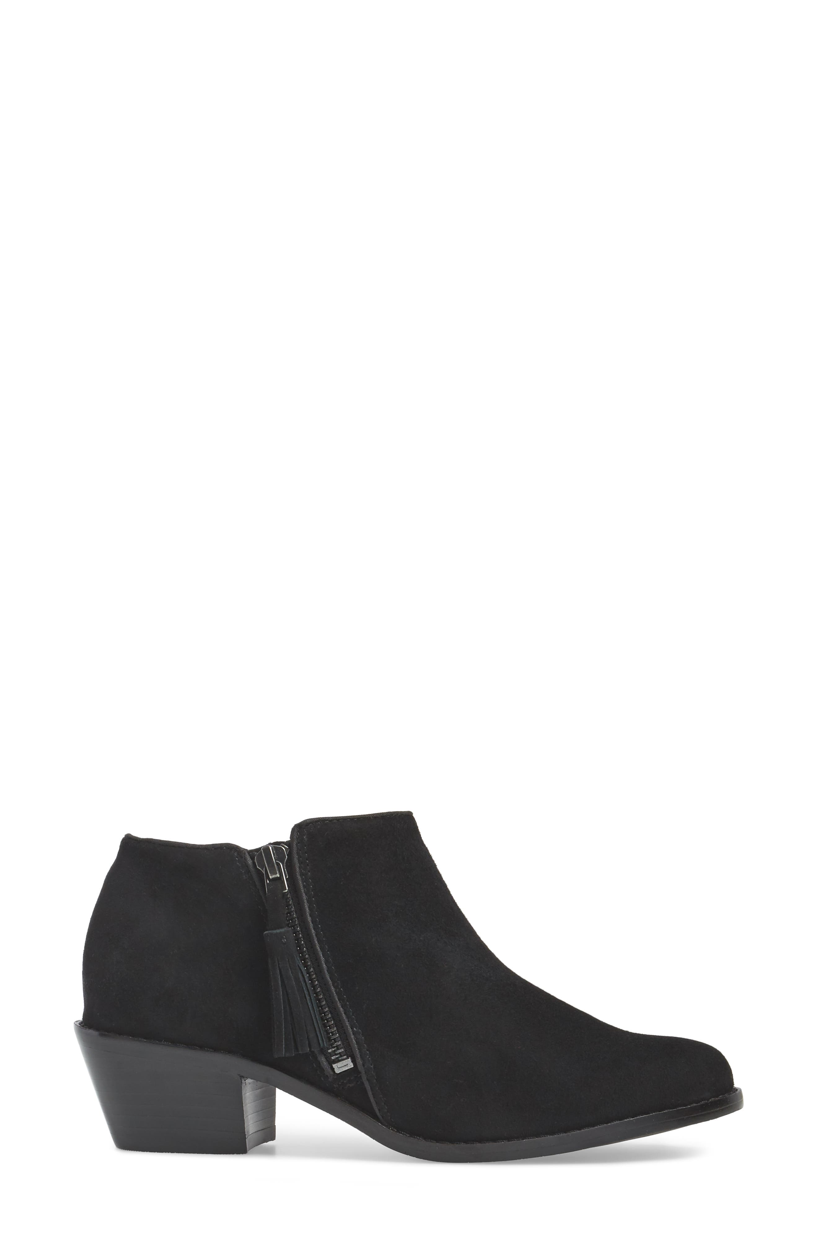 Serena Ankle Boot,                             Alternate thumbnail 3, color,                             Black Suede