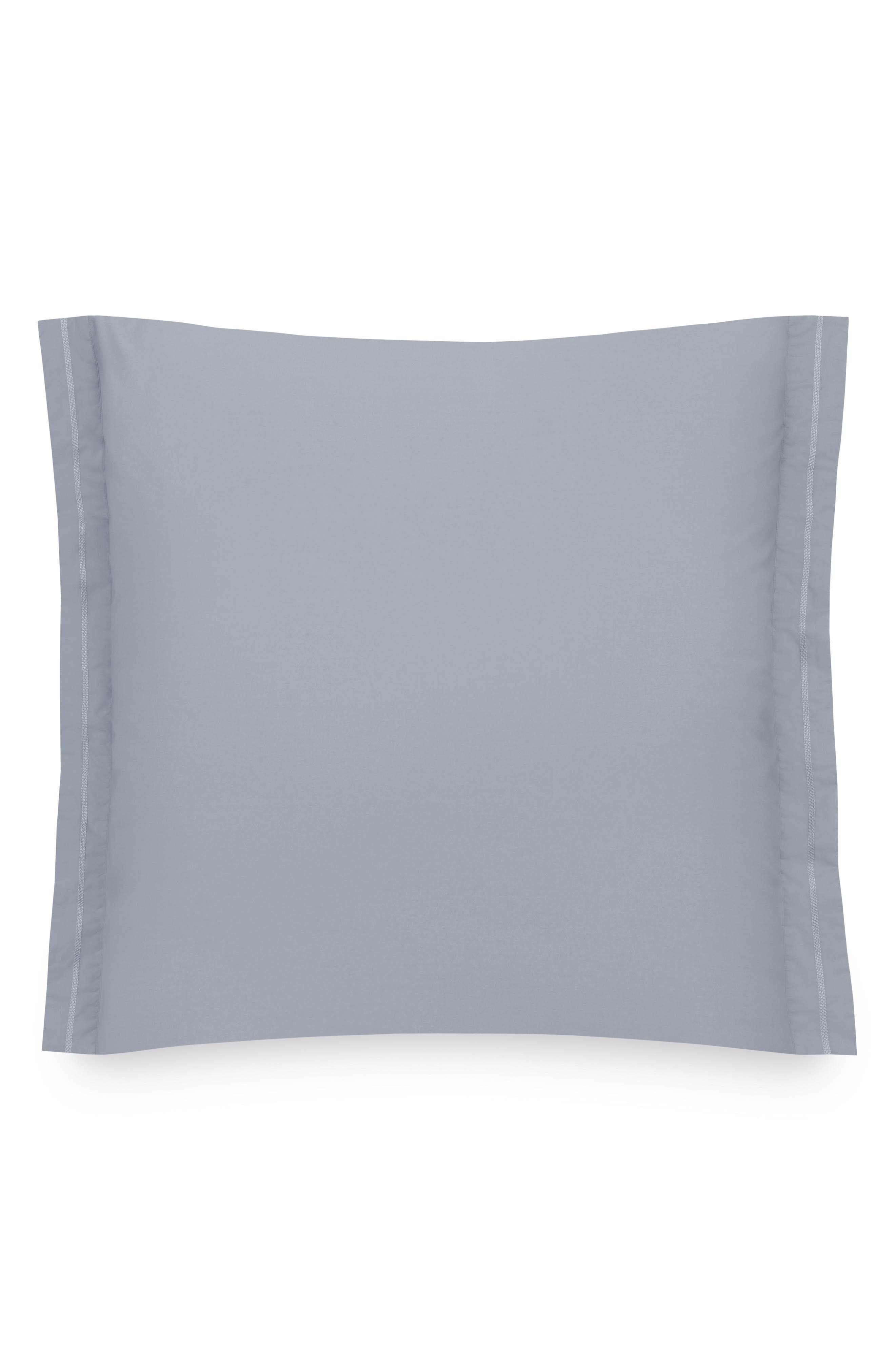 Downtime Embroidered Euro Sham,                         Main,                         color, Chambray