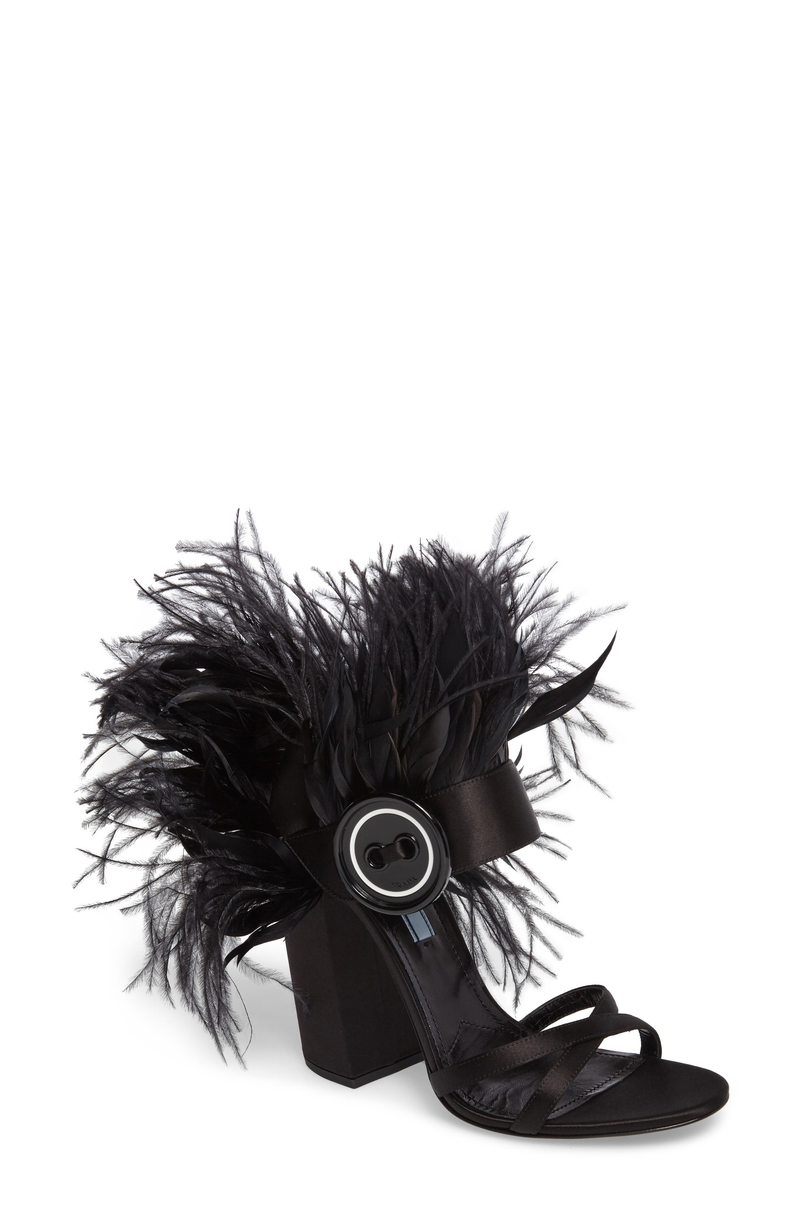 Main Image - Prada Feather Block Heel Sandal (Women)